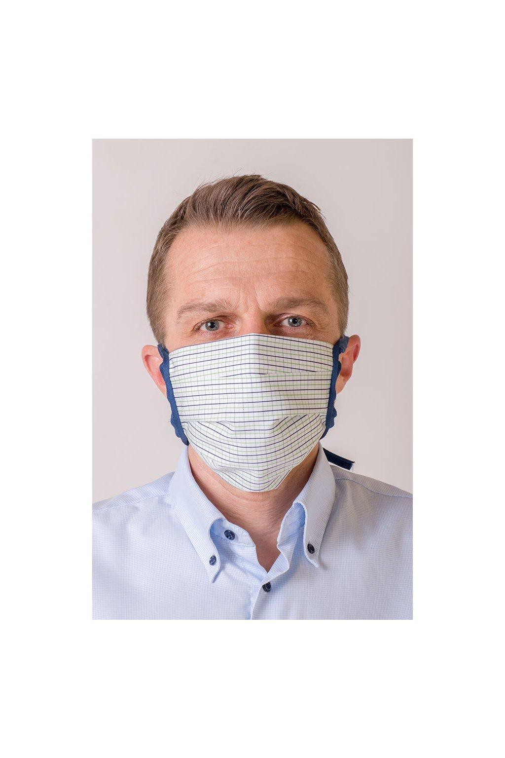 Bavlněná rouška na ústa a nos dvouvrstvá skládaná s kapsou, se šňůrami z keprové stuhy, 797-202, Bílá/modrá