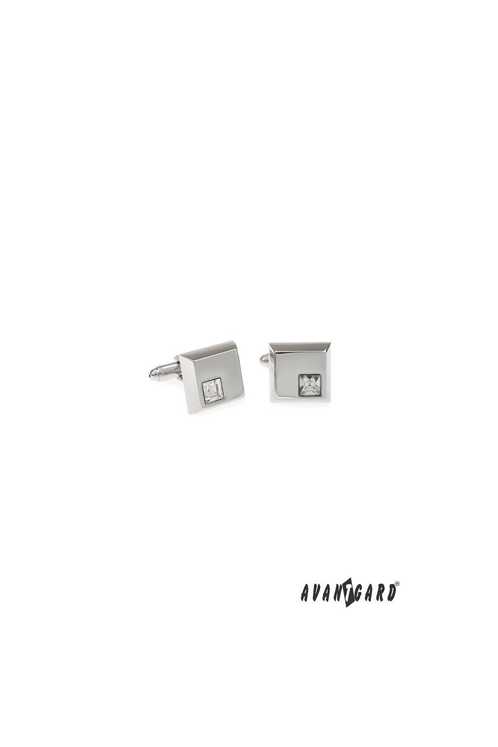 Manžetové knoflíčky PREMIUM, 573-20633, Stříbrná lesk/bílá