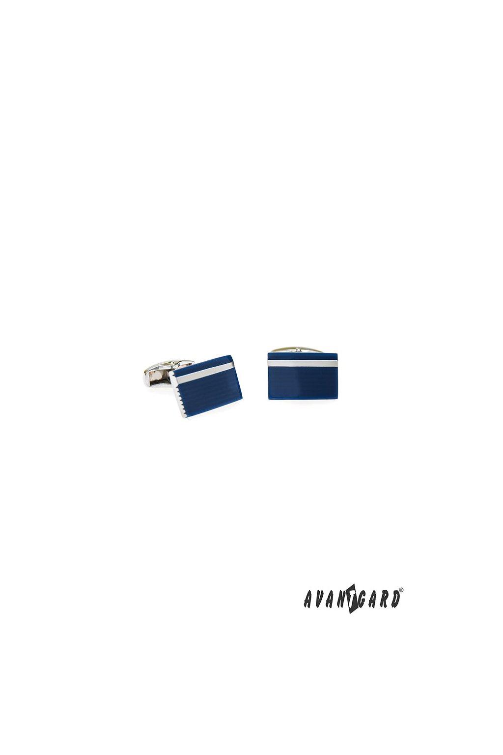 Manžetové knoflíčky PREMIUM, 573-20683, Stříbrná lesk/modrá