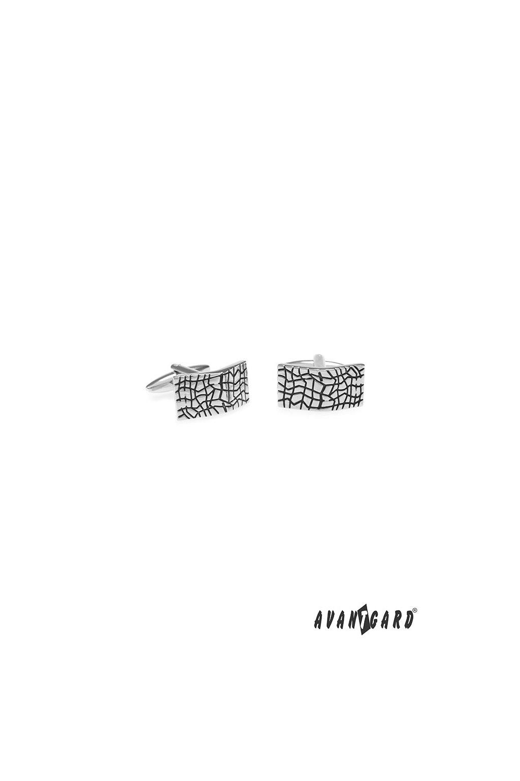 Manžetové knoflíčky PREMIUM, 573-20692, Stříbrná lesk/černá