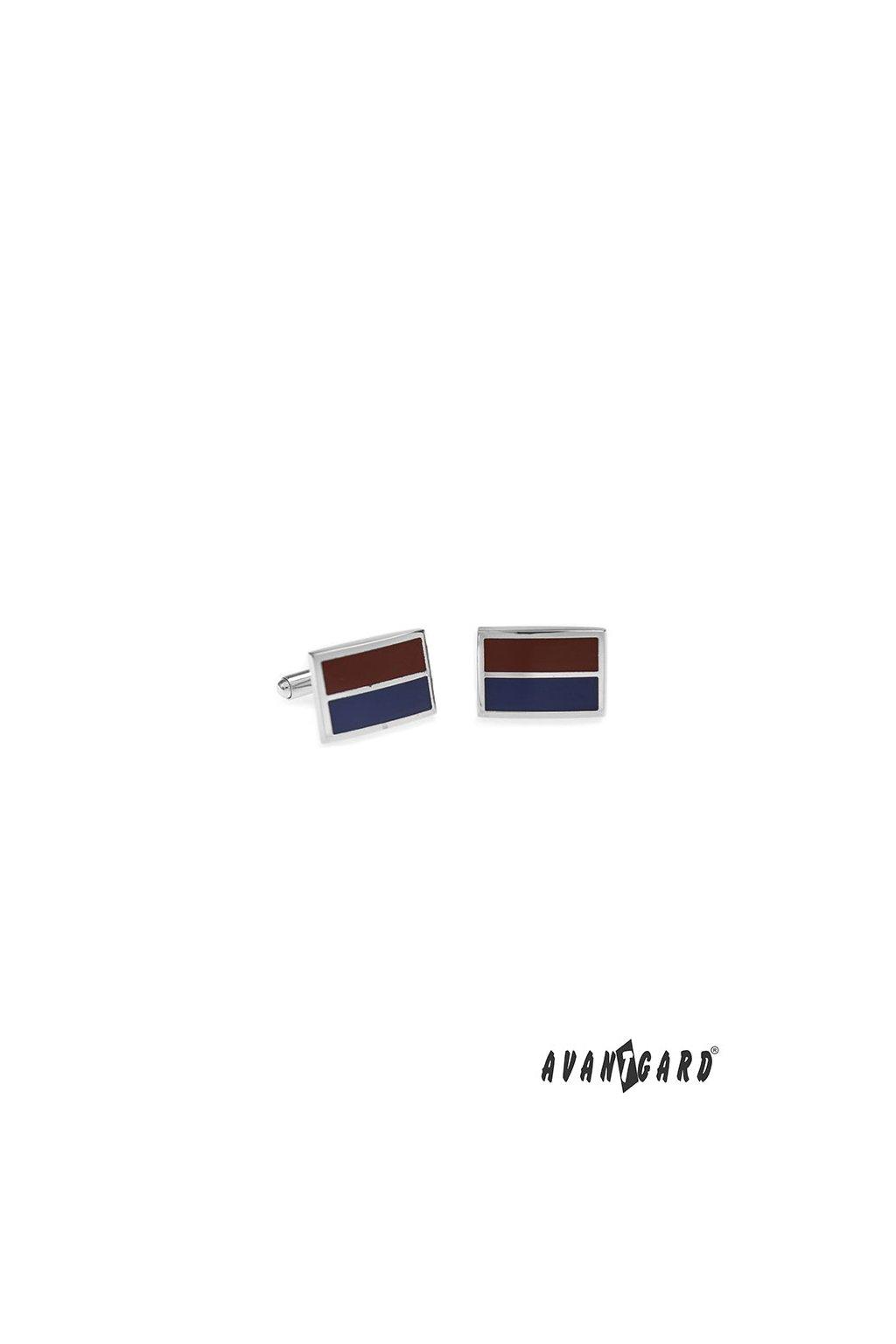 Manžetové knoflíčky PREMIUM, 573-20717, Stříbrná lesk/modrá