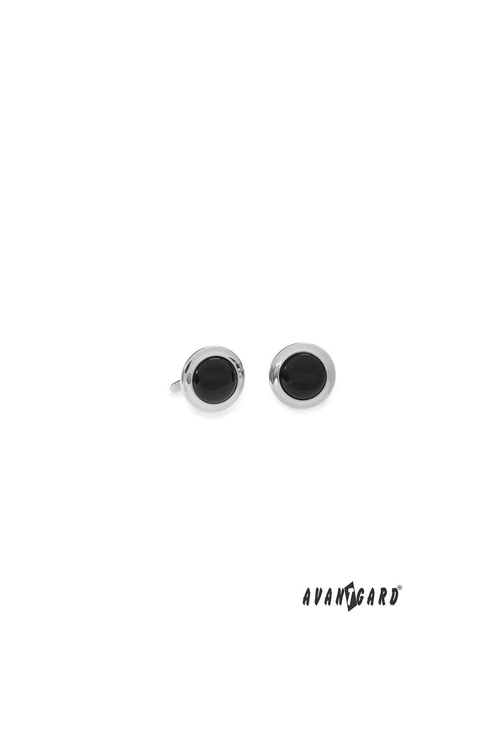 Manžetové knoflíčky PREMIUM, 573-20744, Stříbrná lesk/černá
