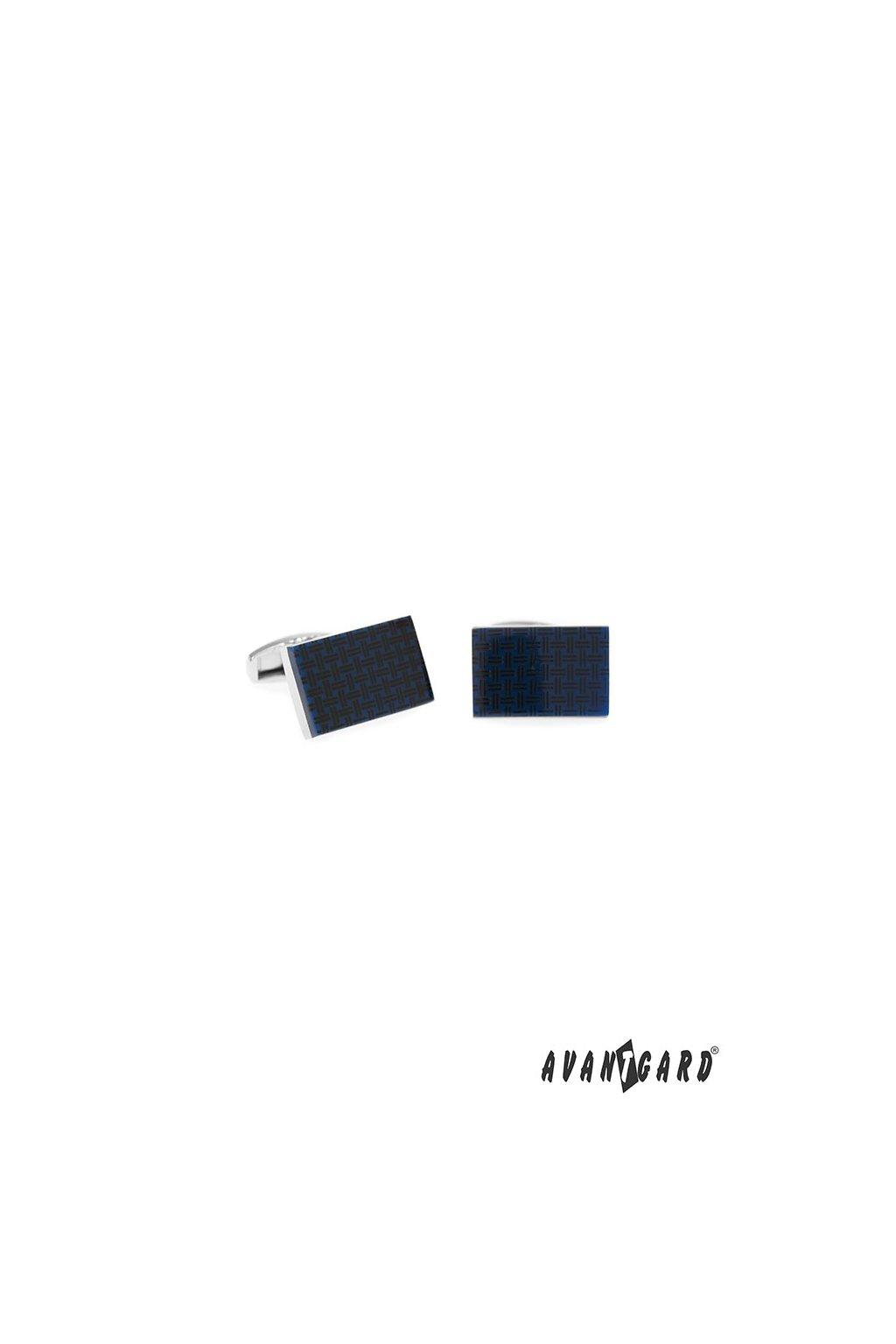 Manžetové knoflíčky PREMIUM, 573-20760, Stříbrná lesk/modrá