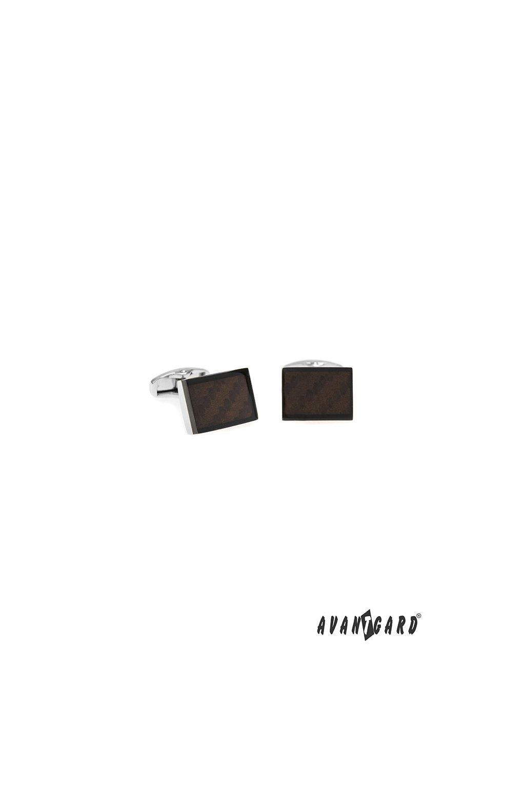 Manžetové knoflíčky PREMIUM, 573-20768, Stříbrná lesk/hnědá
