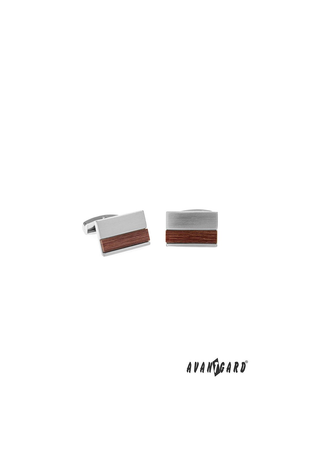 Manžetové knoflíčky PREMIUM, 573-20777, Stříbrná lesk/hnědá