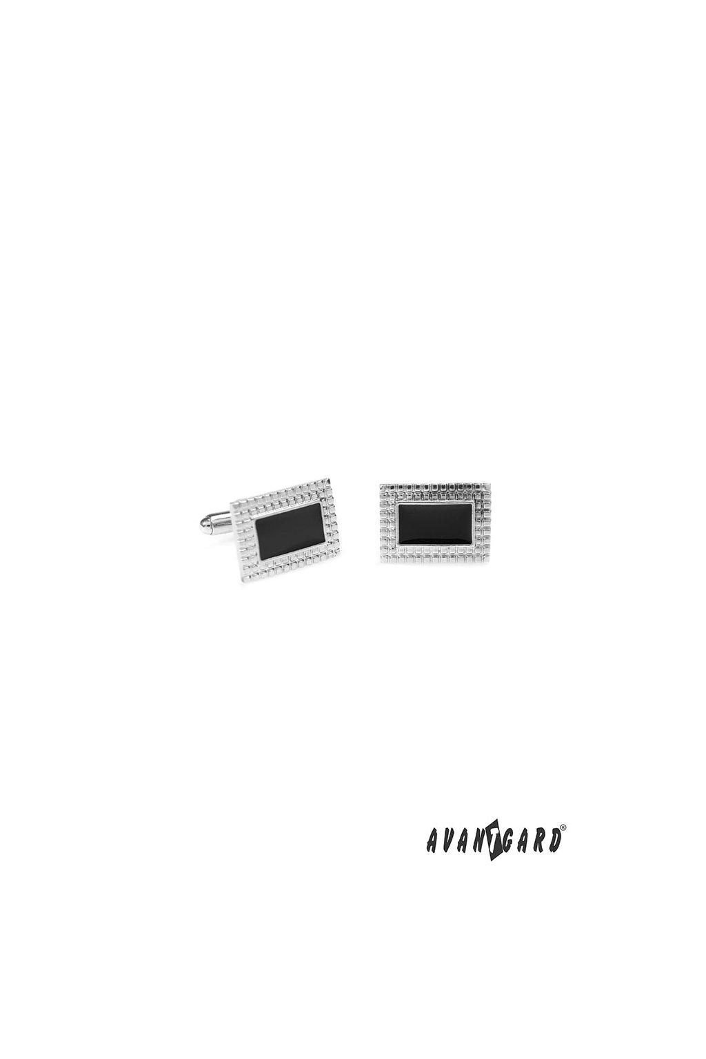 Manžetové knoflíčky PREMIUM, 573-20778, Stříbrná lesk/černá