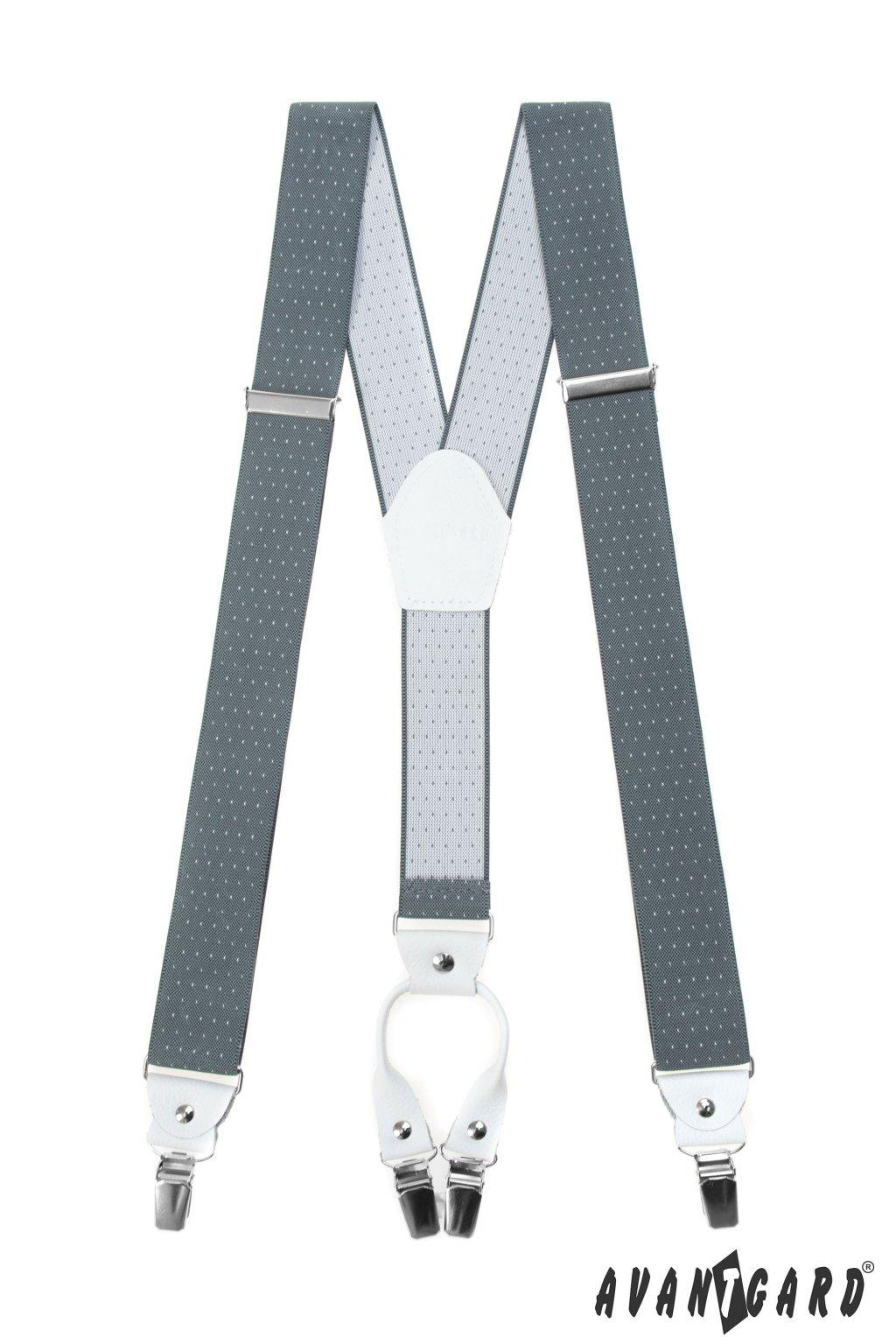 Šle Y s koženým středem a zapínáním na klipy - 35 mm, 880-210101, Šedá s bílou tečkou, bílá kůže