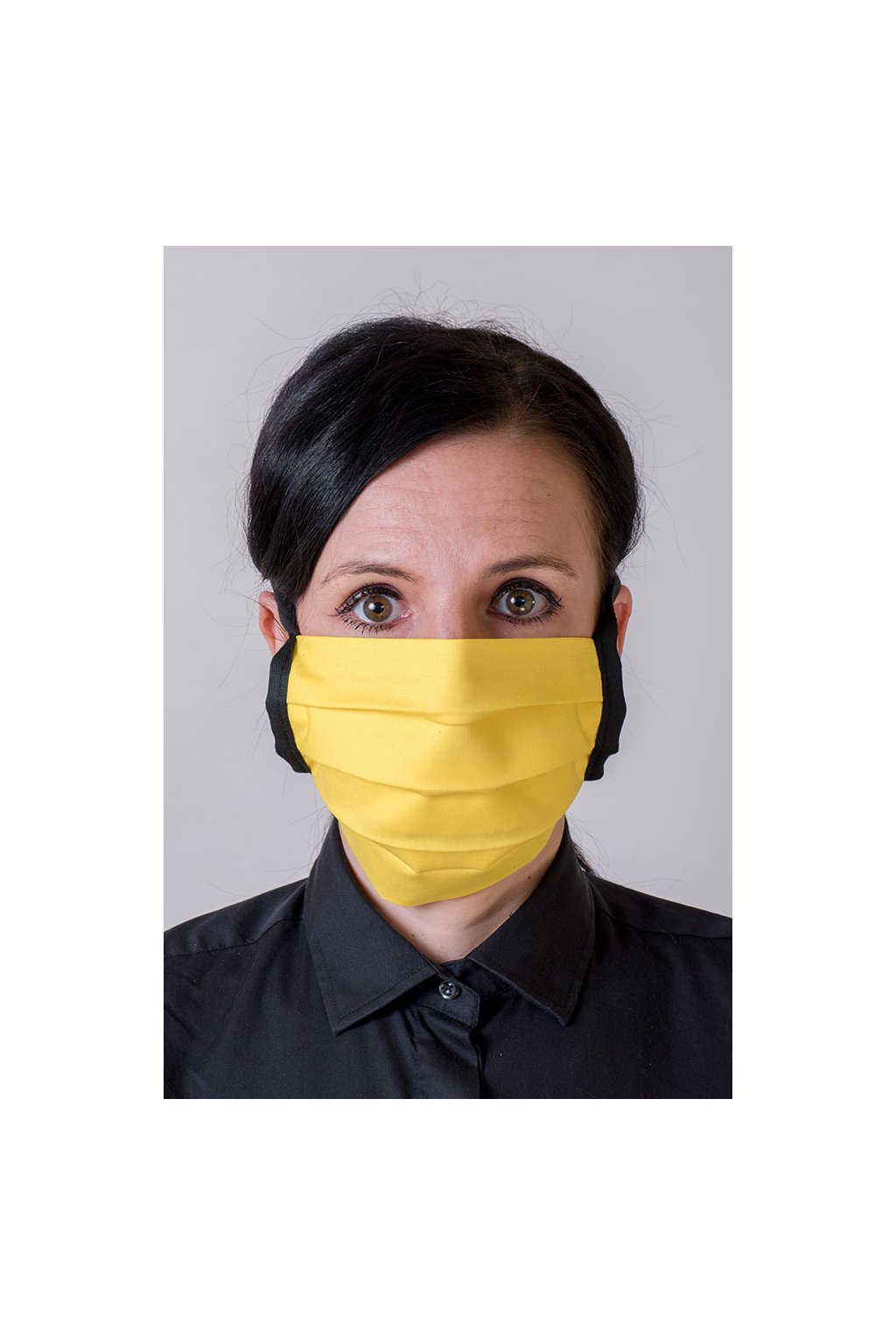 Bavlněná rouška na ústa a nos dvouvrstvá skládaná s kapsou, se šňůrami z keprové stuhy, 797-211, Žlutá