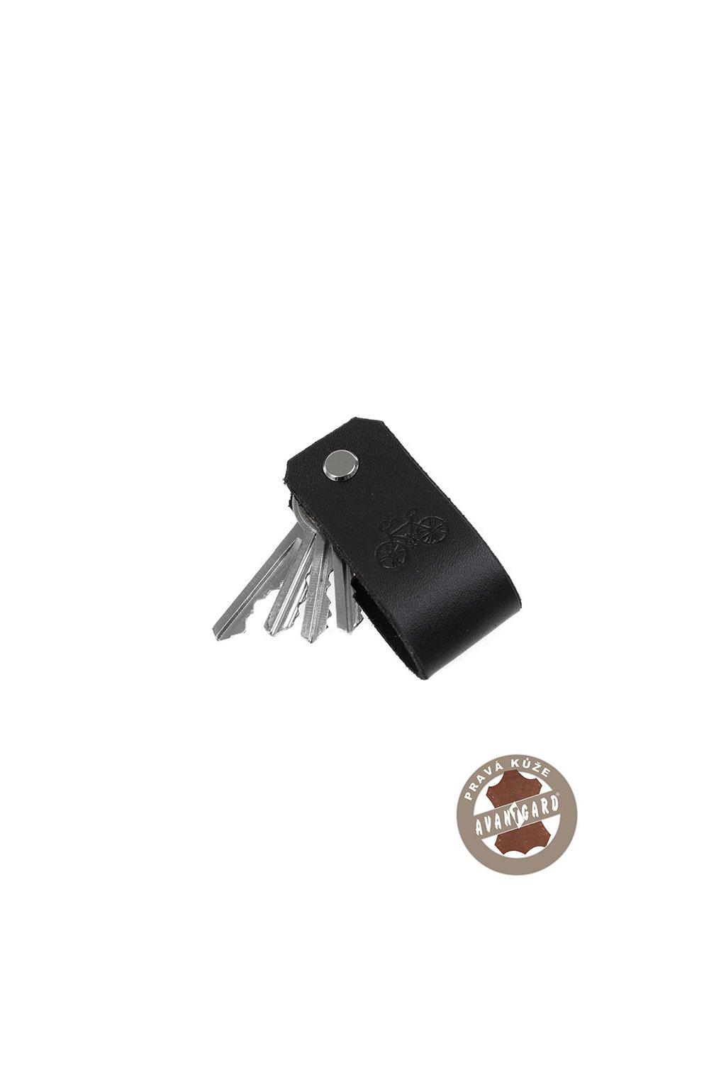 Klíčenka z pravé kůže s ražbou kola, 805-2305, Černá/kolo
