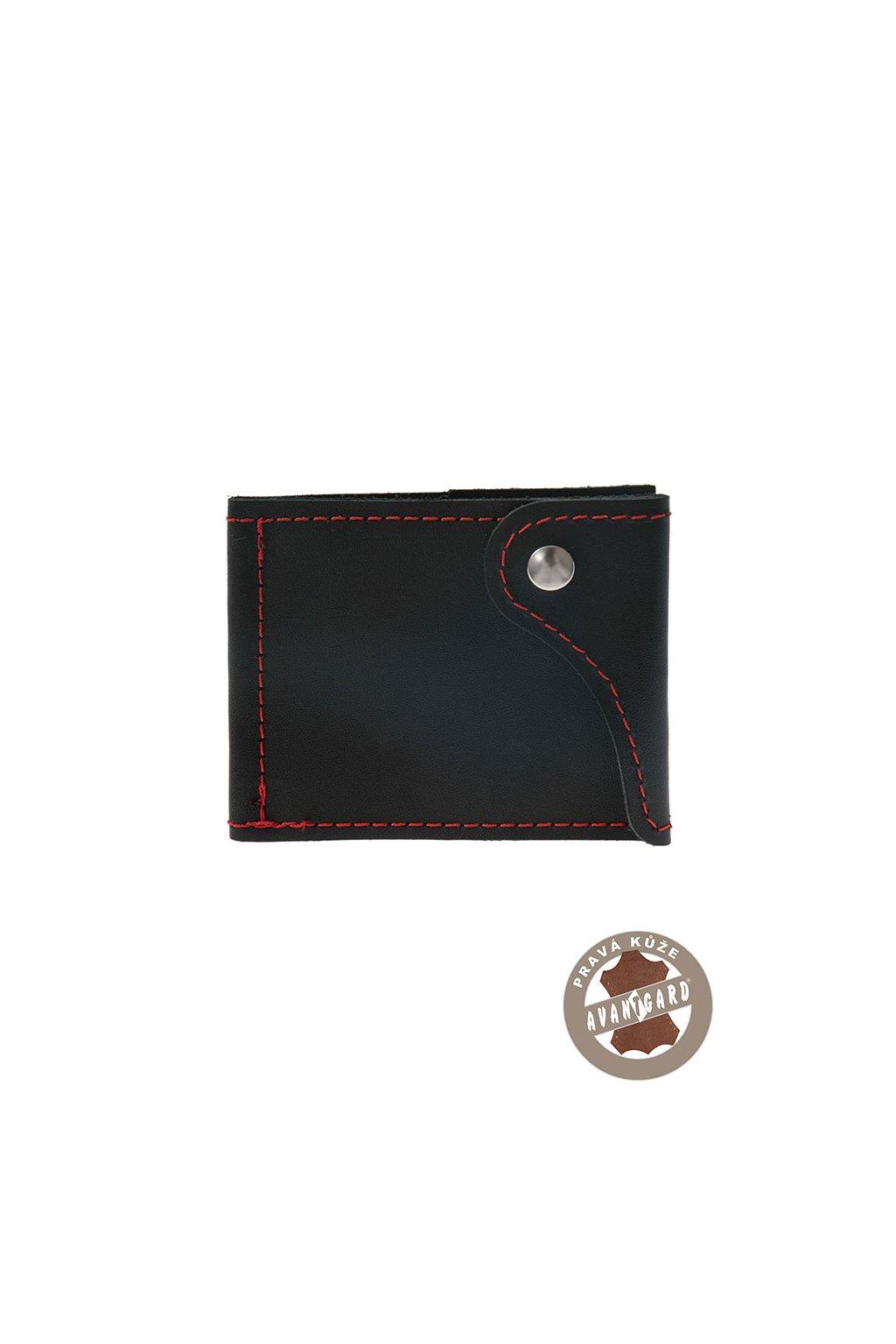 Pánská peněženka z pravé kůže, 800-2312, Černá/červená