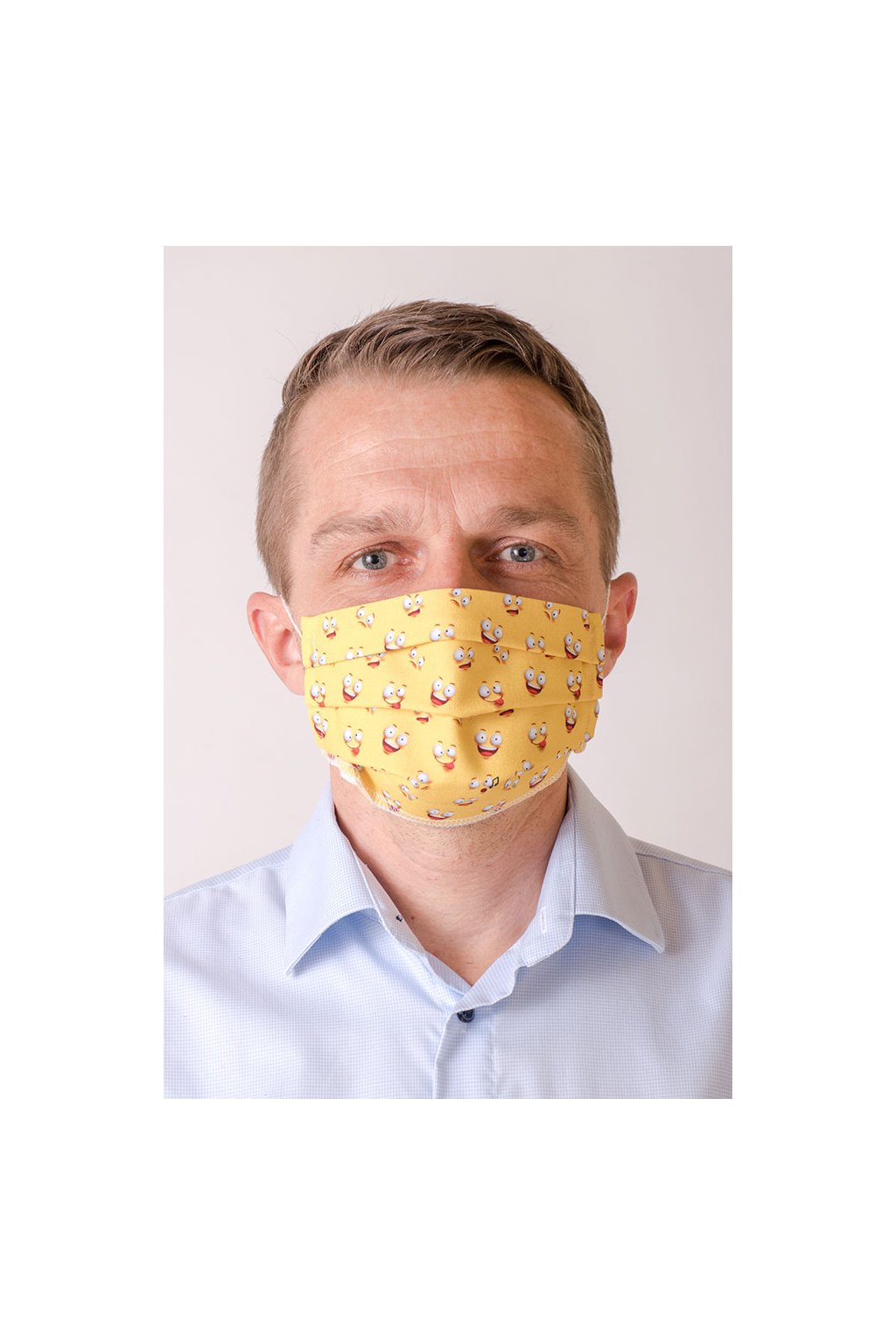 Pánská bavlněná rouška dvouvrstvá skládaná s kapsou a tvarovacím drátkem, ouška z gumičky, 770-239, Žlutá
