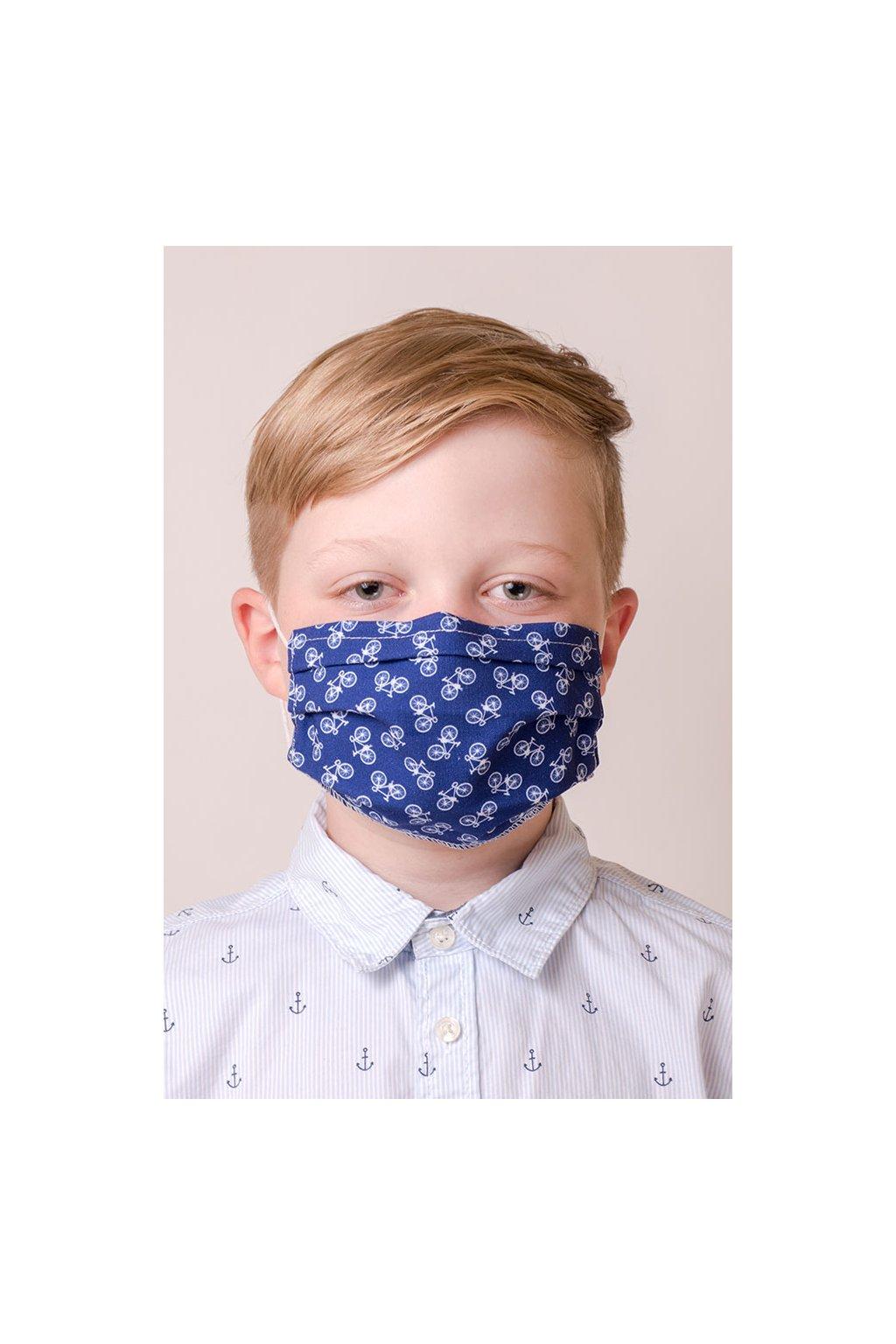 Dětská bavlněná rouška dvouvrstvá skládaná s kapsou a tvarovacím drátkem, ouška z gumičky, 772-250, Modrá/Cyklistika