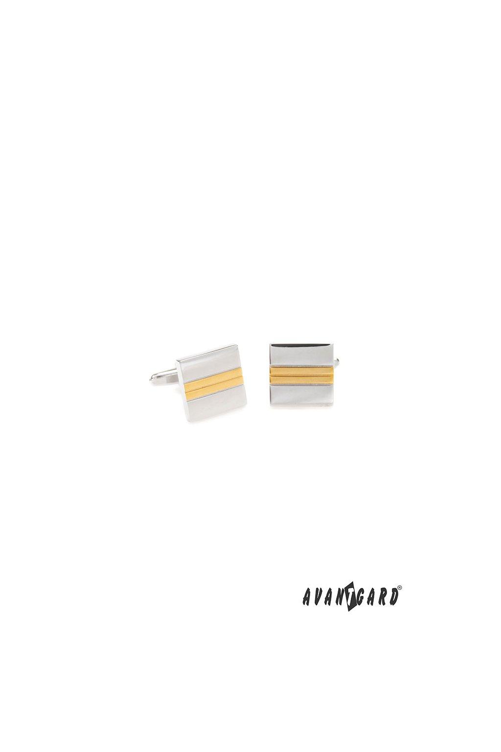 Manžetové knoflíčky PREMIUM, 573-30009, Stříbrná, zlatá