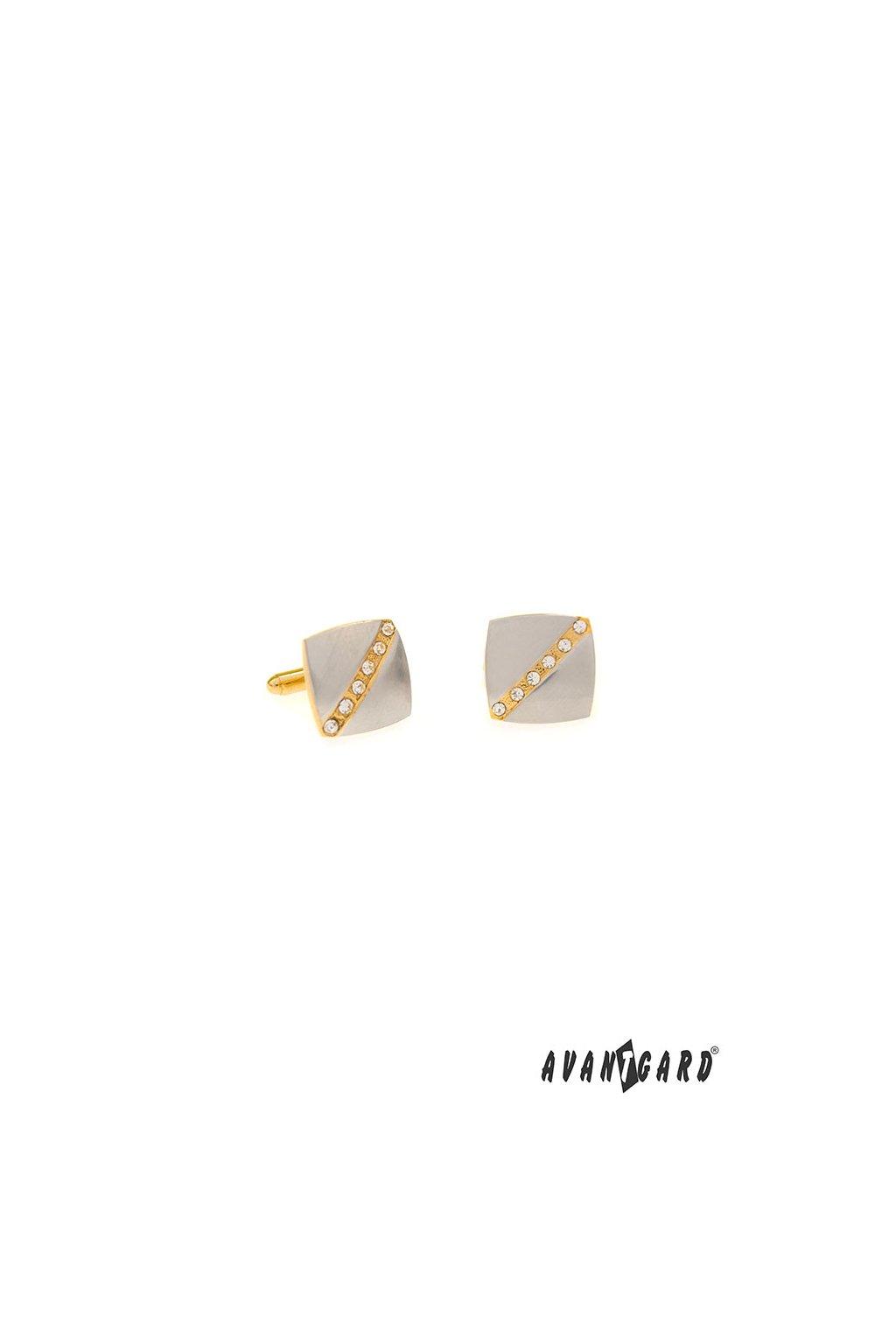 Manžetové knoflíčky PREMIUM, 573-30068, Stříbrná mat/zlatá lesk