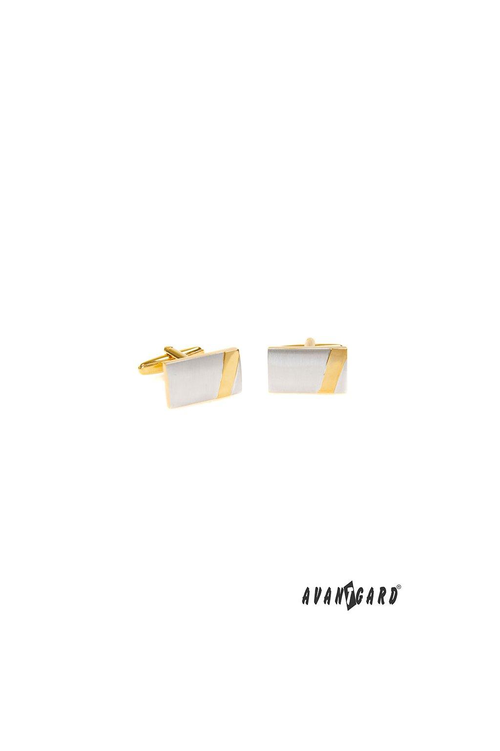 Manžetové knoflíčky PREMIUM, 573-30070, Stříbrná mat/zlatá lesk