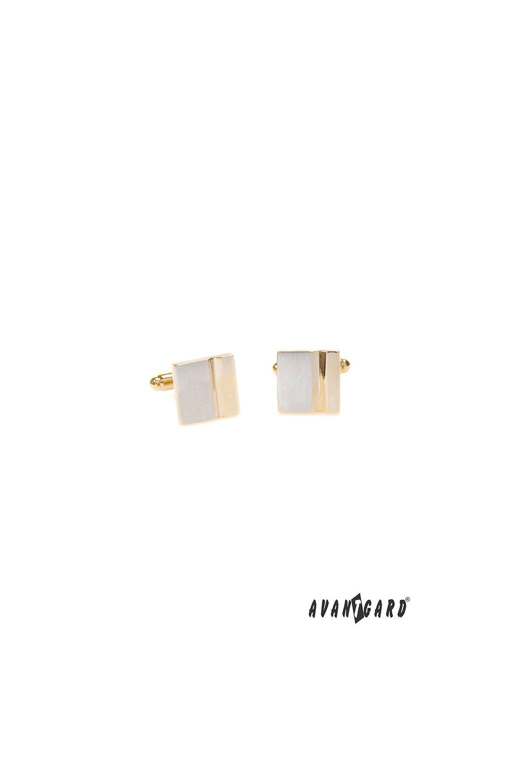 Manžetové knoflíčky PREMIUM, 573-30071, Stříbrná mat/zlatá lesk