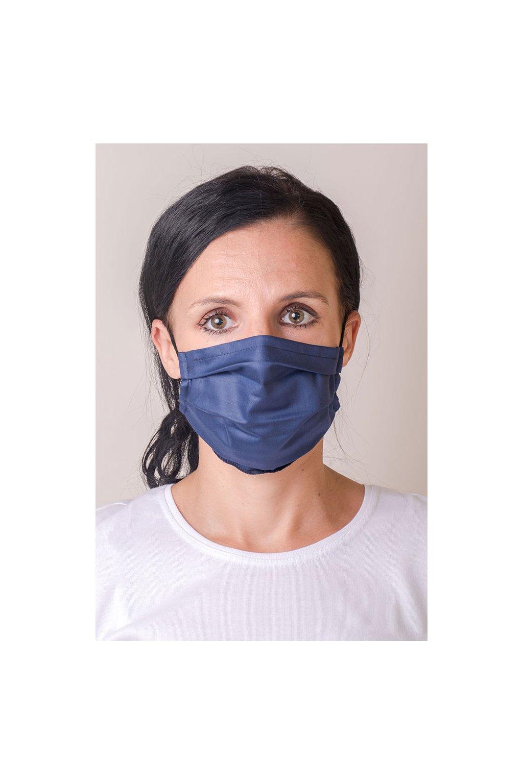 Dámská bavlněná rouška dvouvrstvá s kapsou a tvarovacím drátkem, antibakteriální SILVER+, 771-31, Modrá