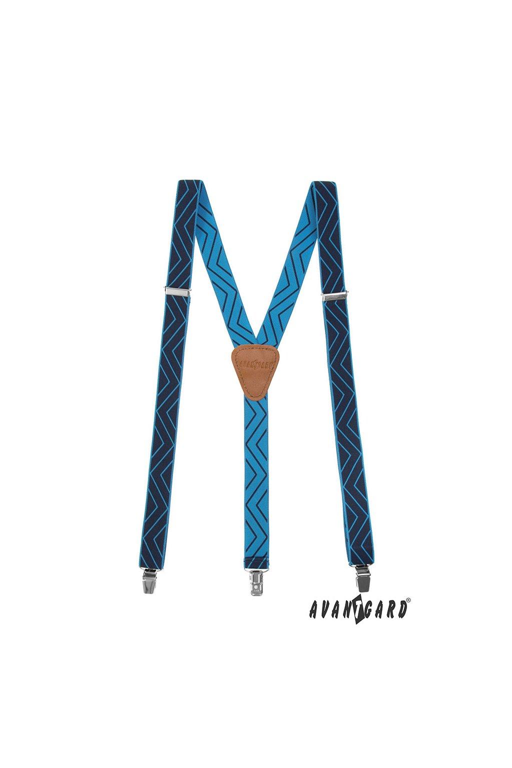 Šle Y s koženým středem a zapínáním na klipy - 25 mm, 867-312569, Tmavě modrá, koňaková kůže