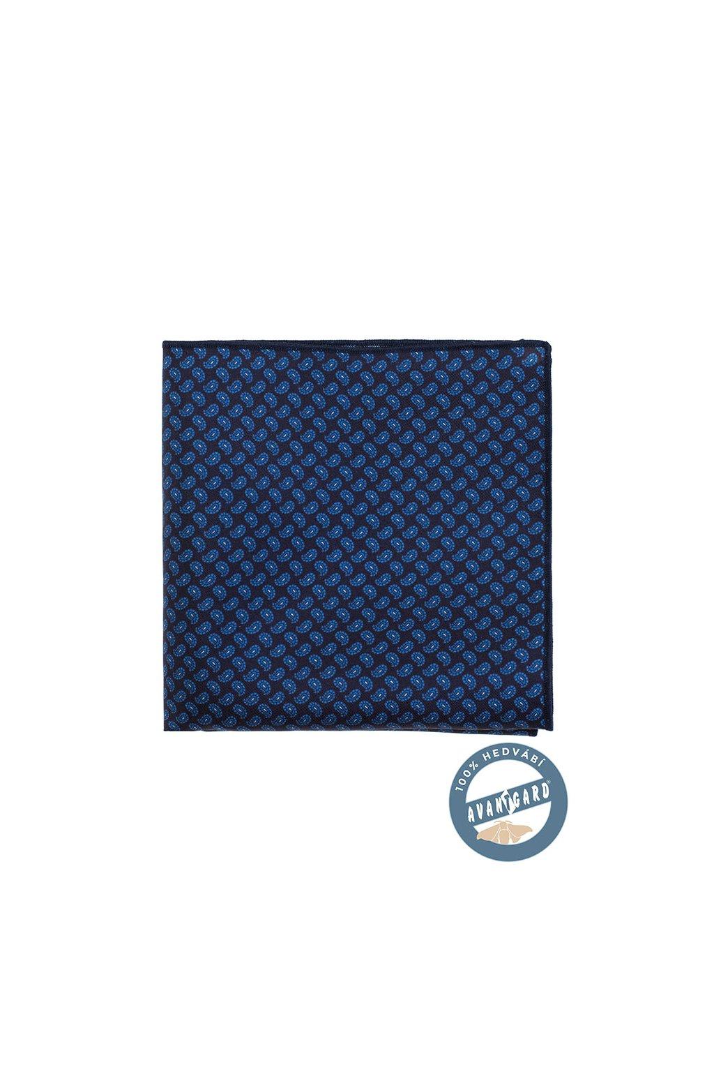 Kapesníček do saka hedvábný PREMIUM, 610-3186, Modrá