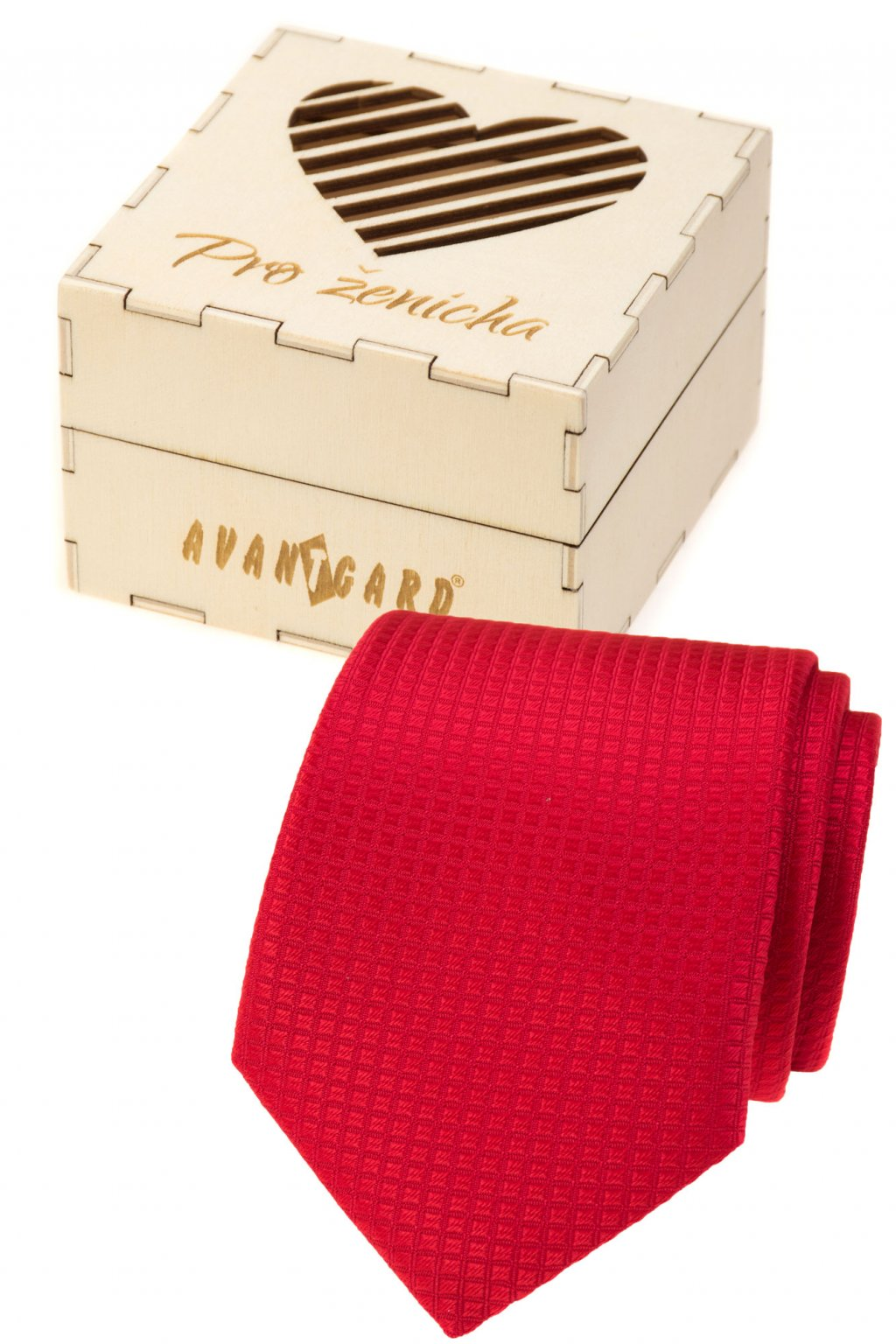Dárkový set Pro ženicha - Kravata v dárkové dřevěné krabičce s nápisem, 919-37220, Červená, přírodní dřevo