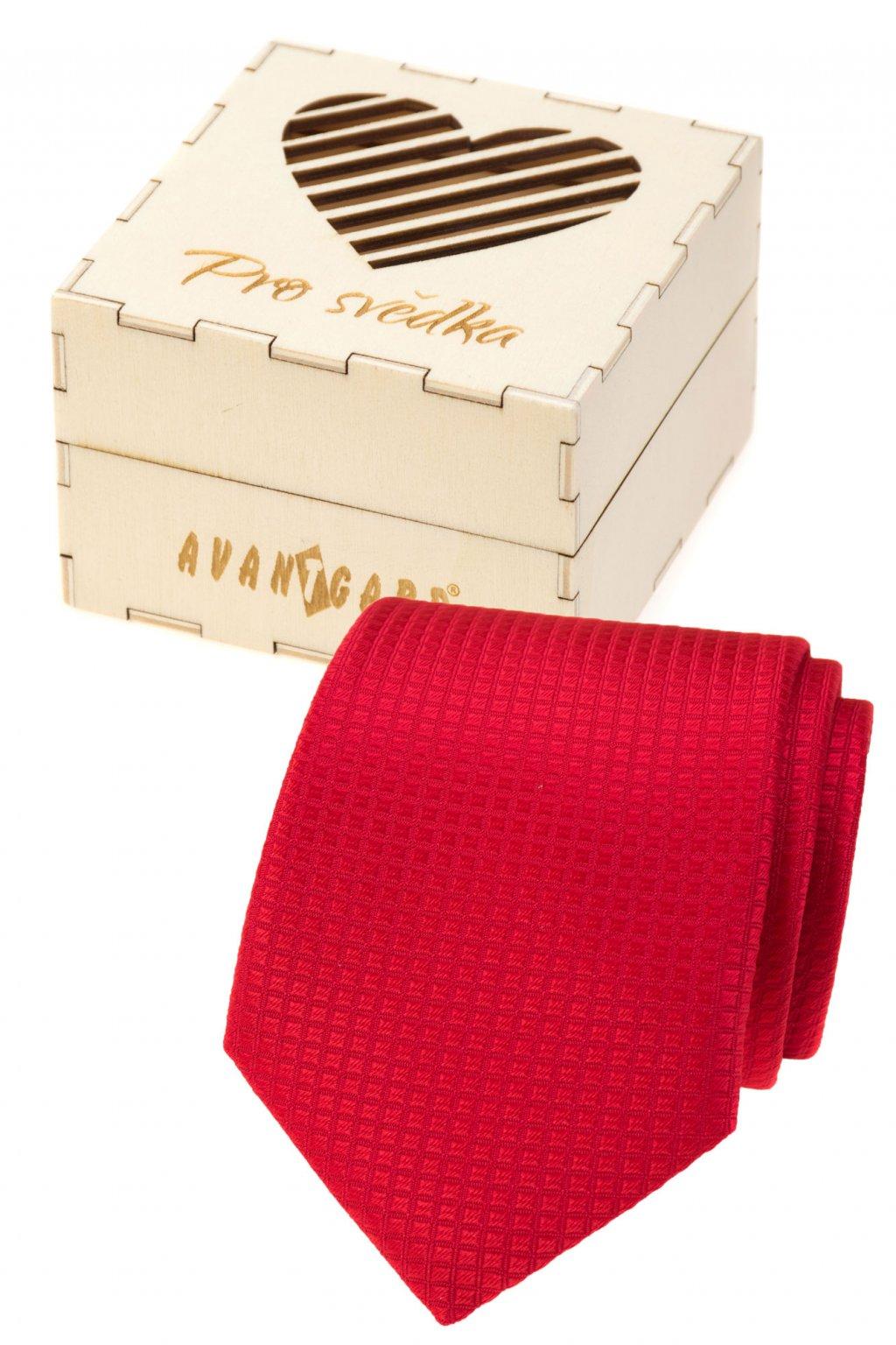 Dárkový set Pro svědka - Kravata v dárkové dřevěné krabičce s nápisem, 919-37221, Červená, přírodní dřevo