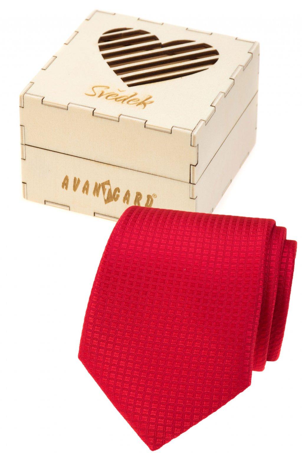 Dárkový set Svědek - Kravata v dárkové dřevěné krabičce s nápisem, 919-37223, Červená, přírodní dřevo