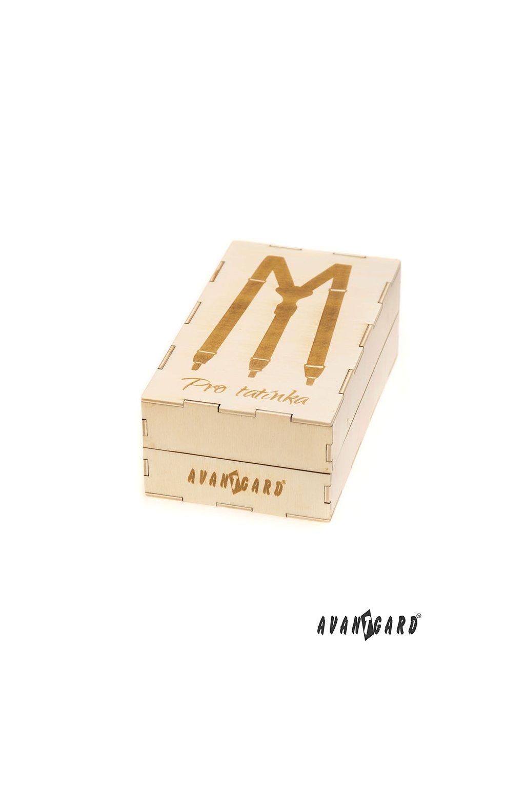 Dřevěná dárková krabička na šle Pro tatínka, 921-3726, Přírodní dřevo