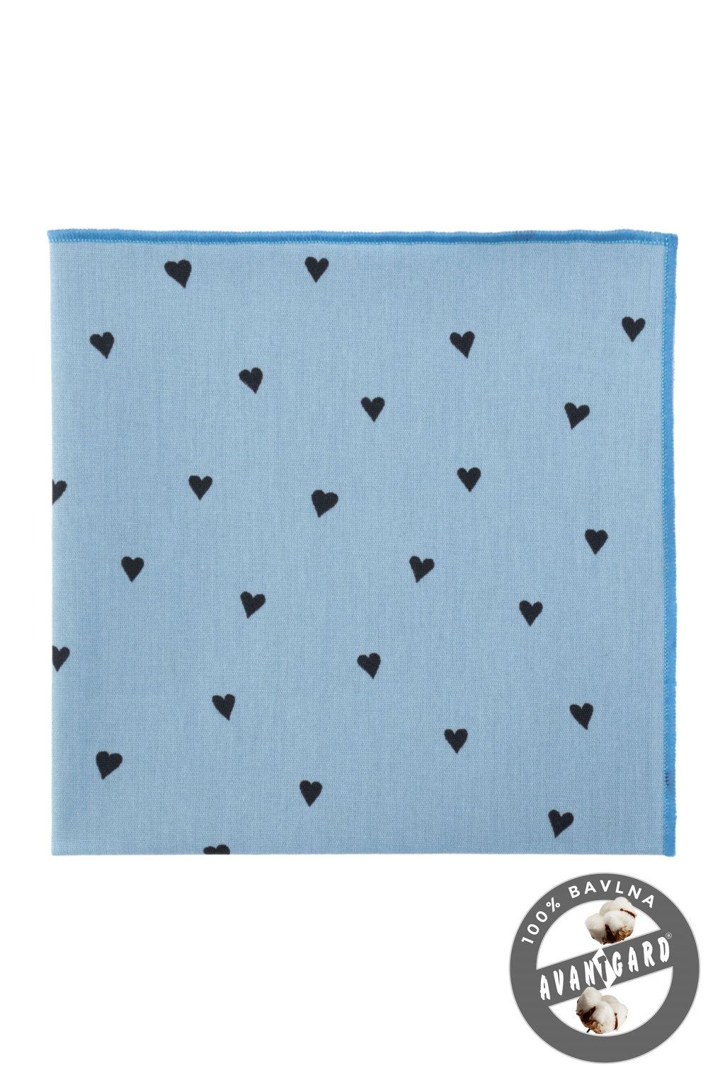 Kapesníček do saka LUX, 583-51025, Modrá/srdce
