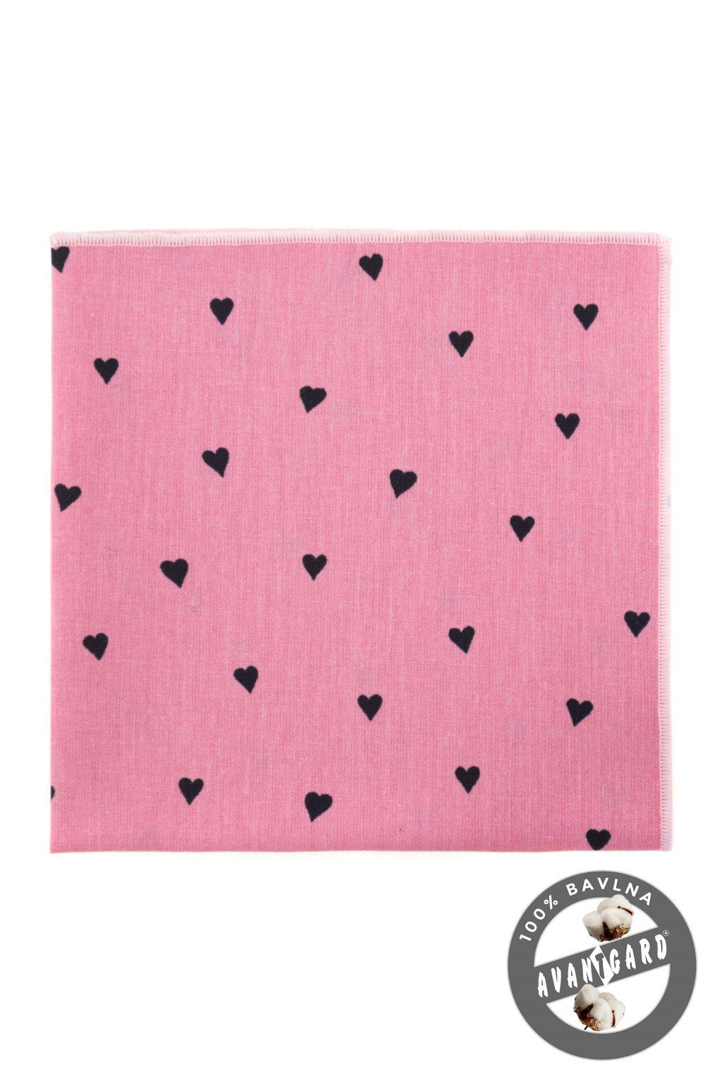 Kapesníček do saka LUX, 583-51026, Růžová/srdce