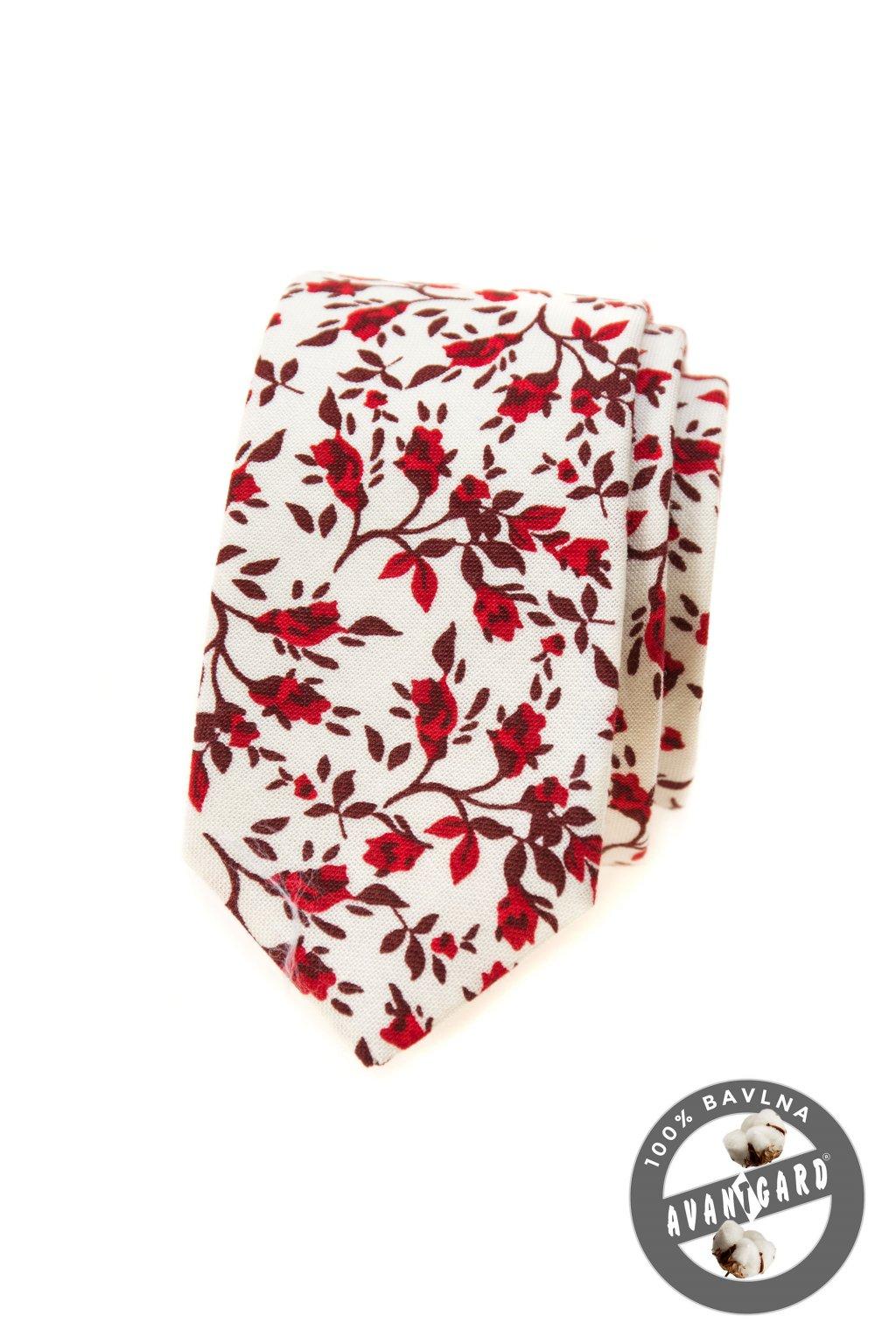 Kravata SLIM LUX, 571-51030, Bílá/červená