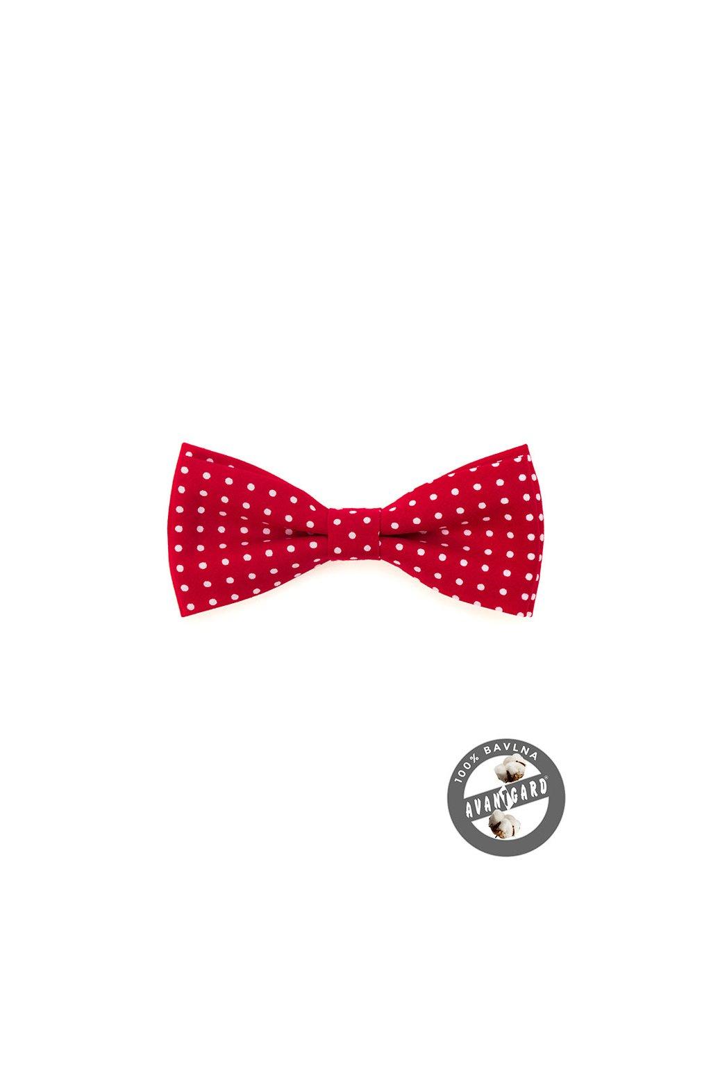 Motýlek PREMIUM bavlněný , 600-5140, Červená s bílým puntíkem