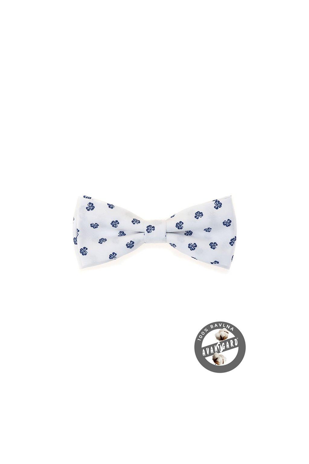 Motýlek PREMIUM bavlněný , 600-5198, Bílá/modrá