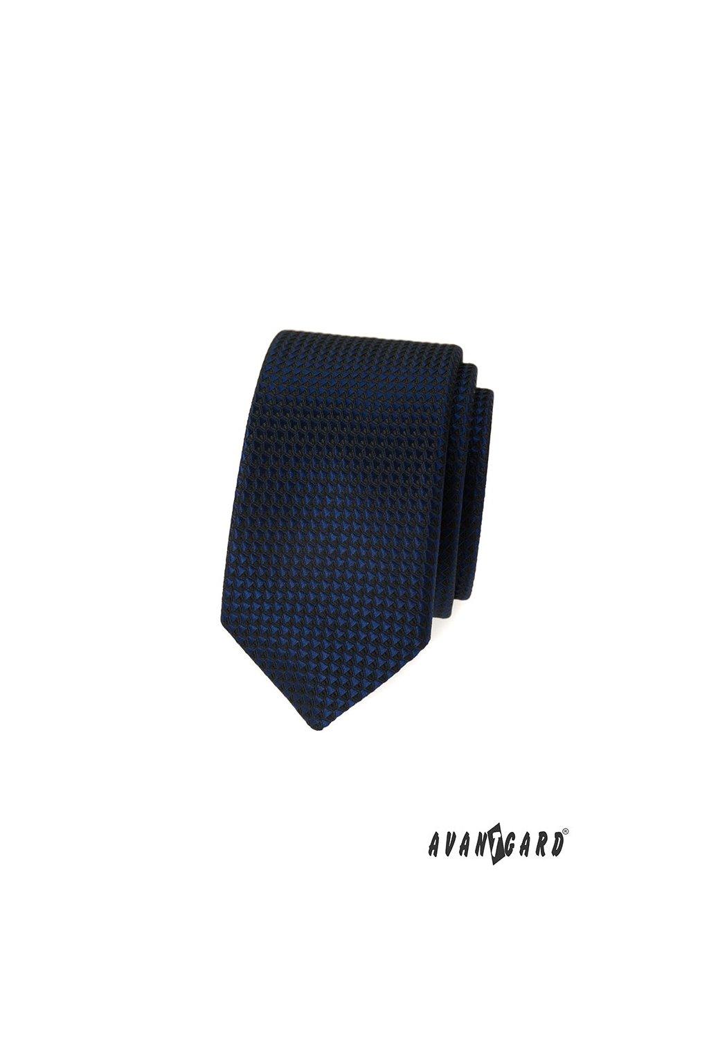 Kravata SLIM LUX, 571-339, Modrá