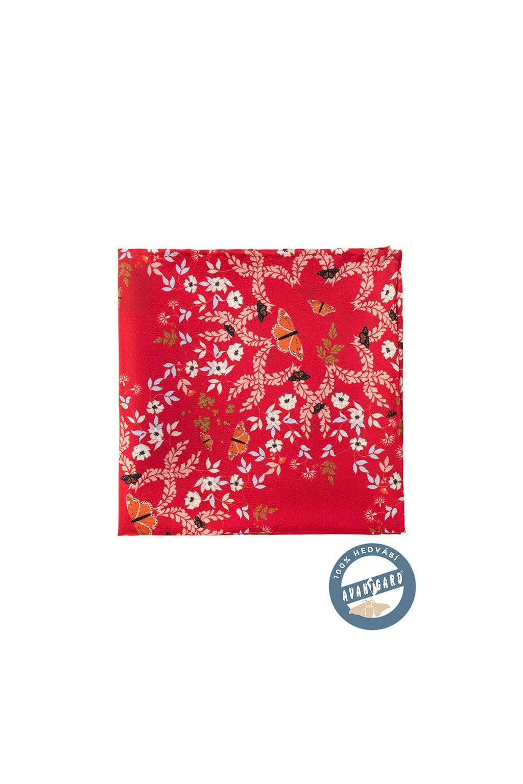 Kapesníček do saka hedvábný PREMIUM, 610-5652, Červená