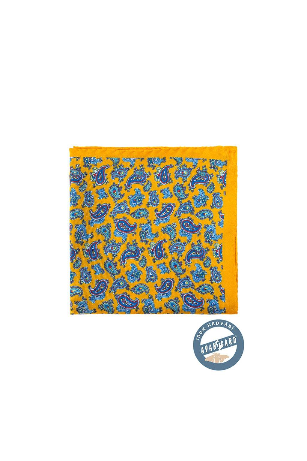 Kapesníček do saka hedvábný PREMIUM, 610-5707, Žlutá