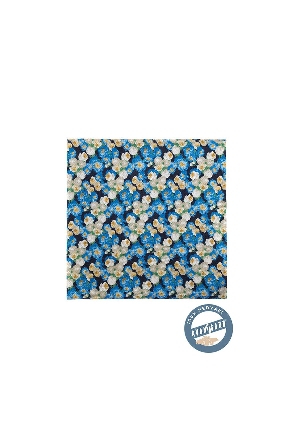Kapesníček do saka hedvábný PREMIUM, 610-5722, Modrá