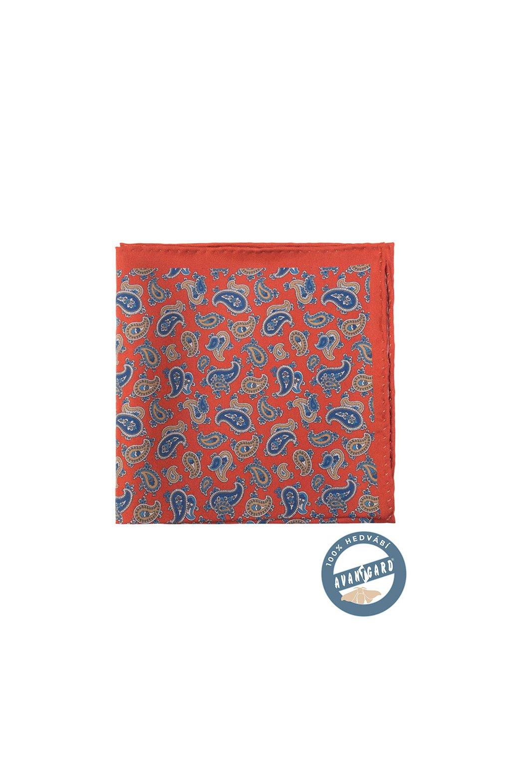 Kapesníček do saka hedvábný PREMIUM, 610-5730, Cihlová/modrá/hnědá