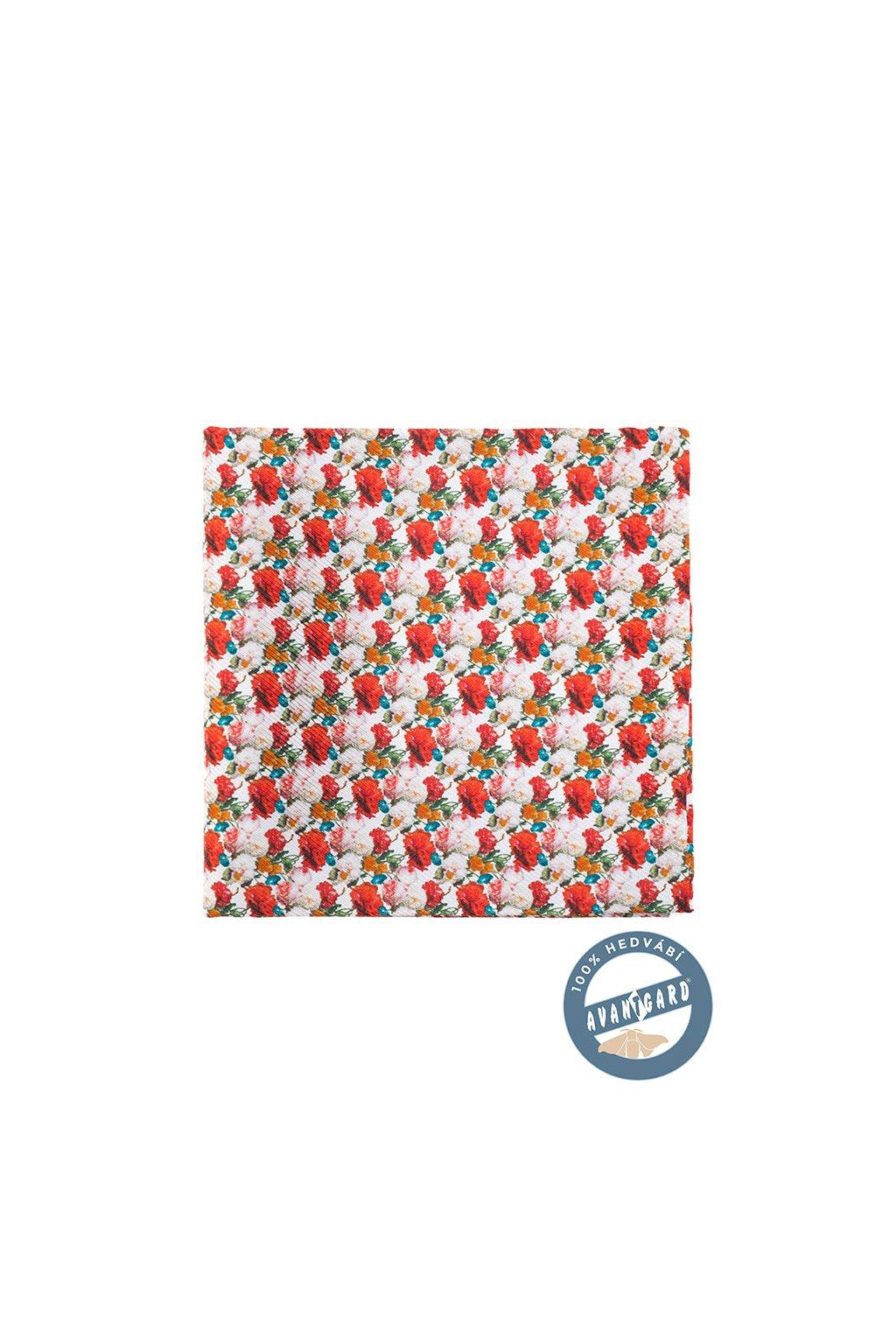 Kapesníček do saka hedvábný PREMIUM, 610-5732, Bílá/červená