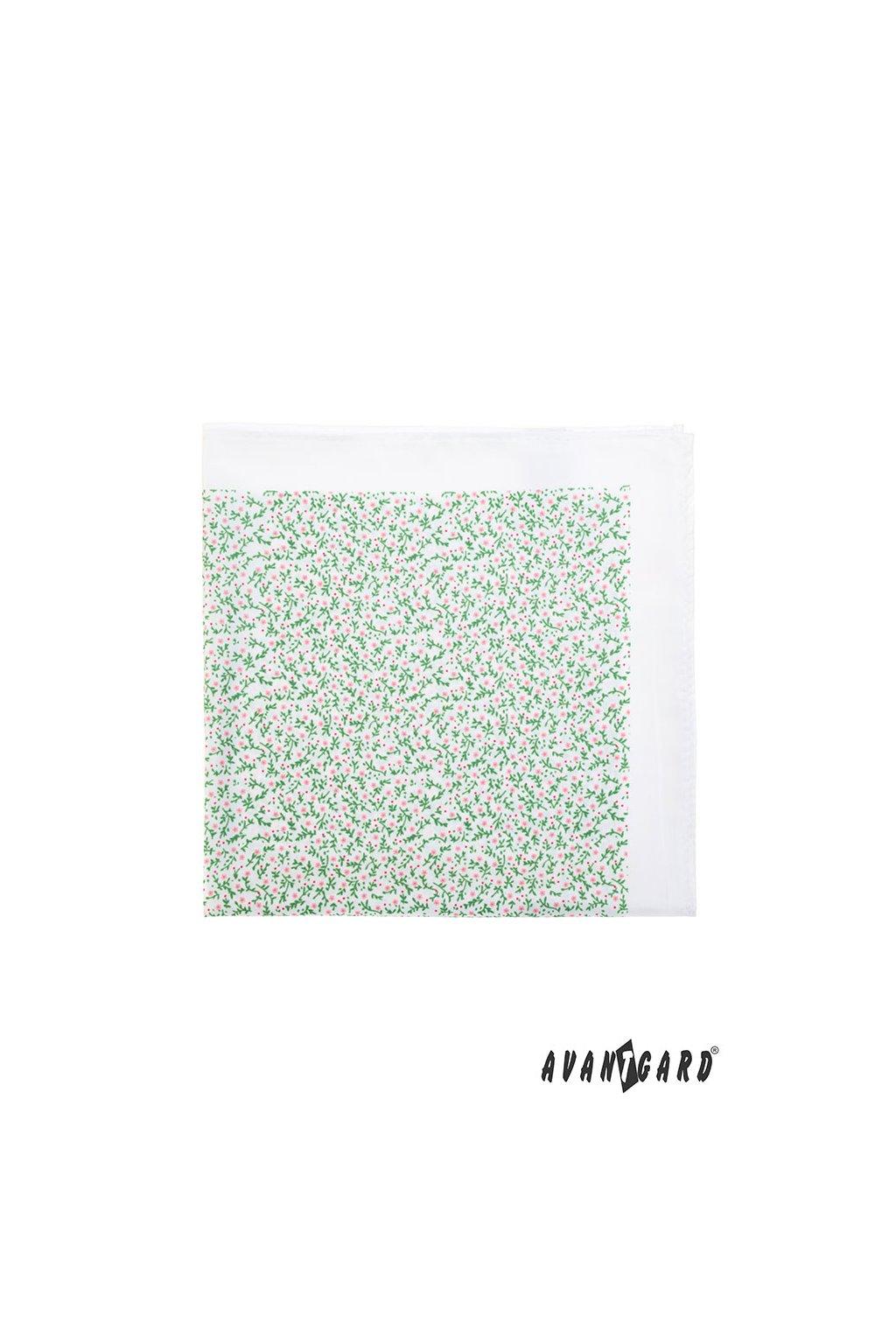 Kapesníček do saka PREMIUM, 612-61190, Bílá/zelená