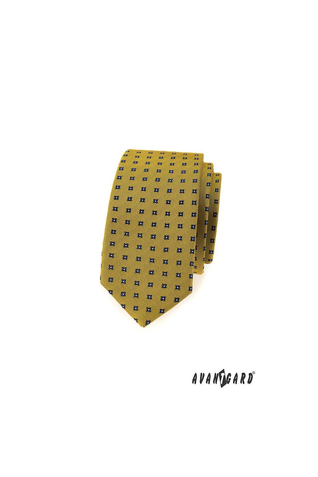 Kravata SLIM LUX, 571-62296, Žlutá