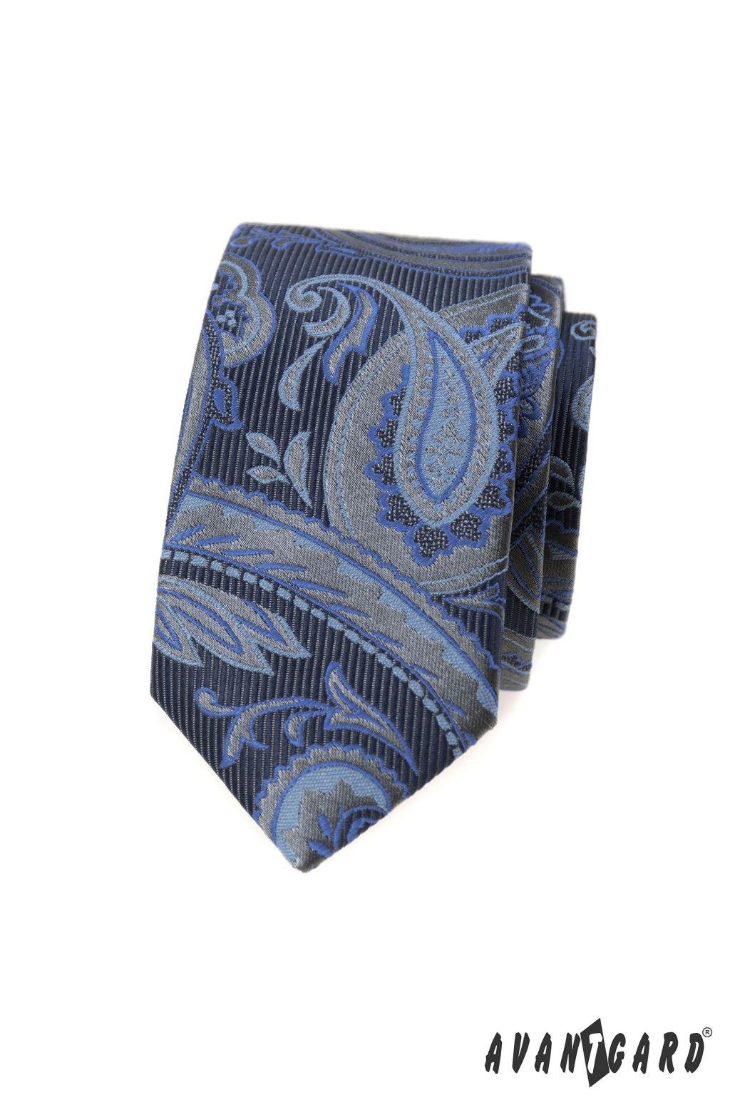 Kravata SLIM LUX, 571-62384, Modrá