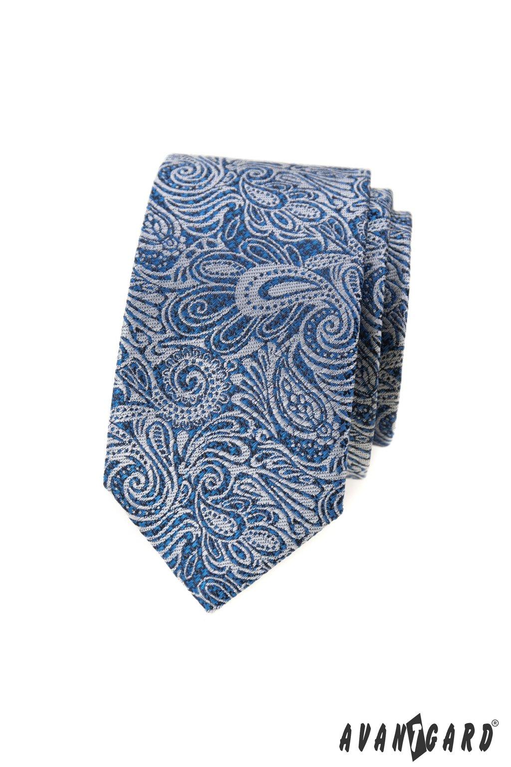 Kravata SLIM LUX, 571-62386, Modrá