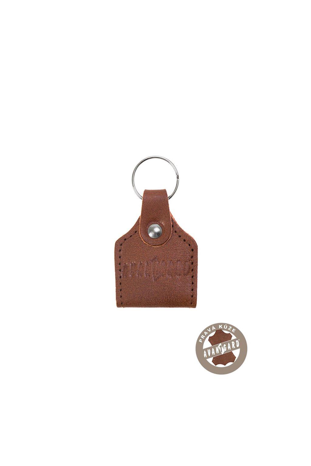 Klíčenka z pravé kůže s žetonem, 801-63, Hnědá
