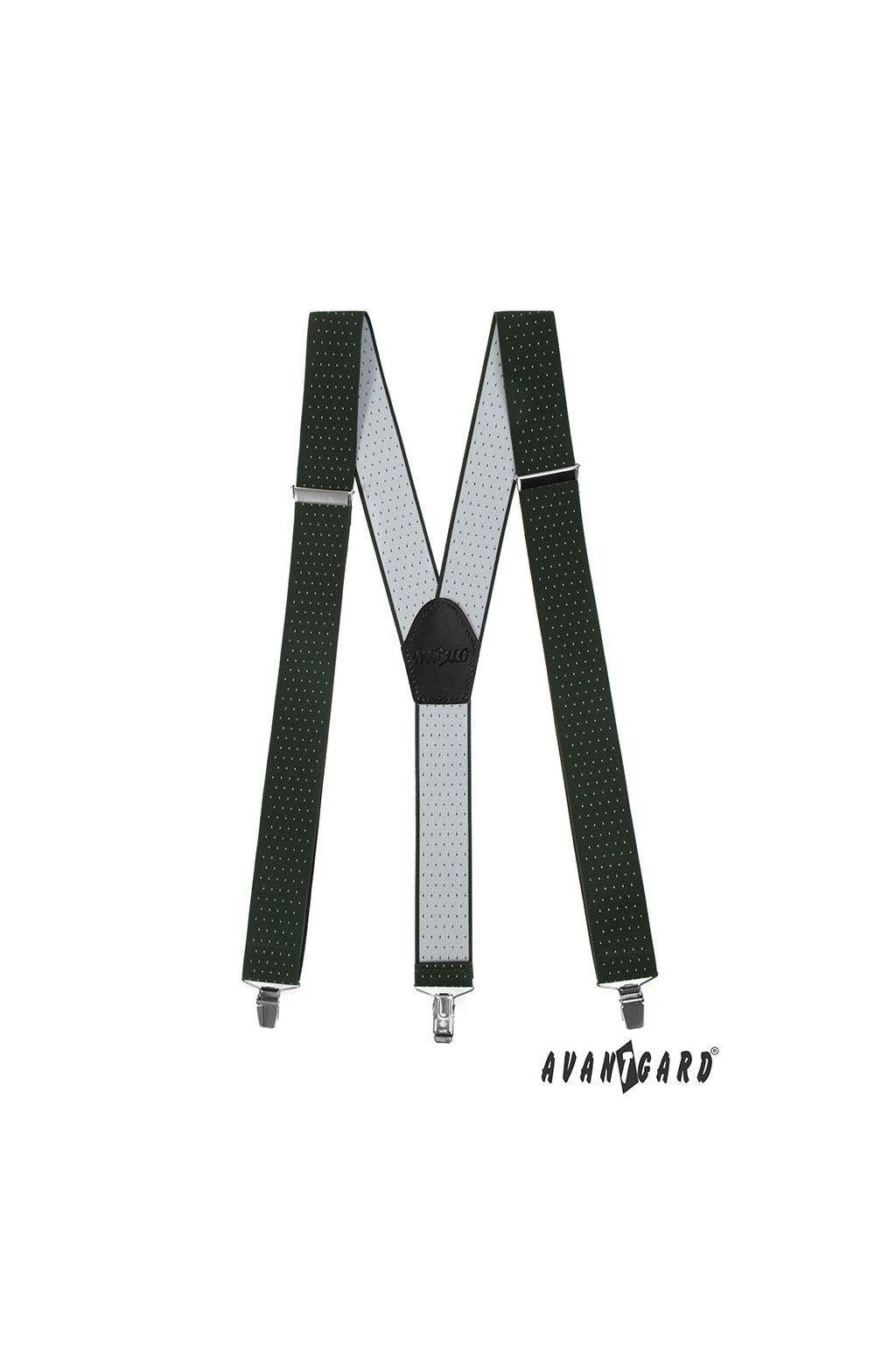 Šle Y s koženým středem a zapínáním na klipy - 35 mm, 856-460123, Zelená s bílým puntíkem