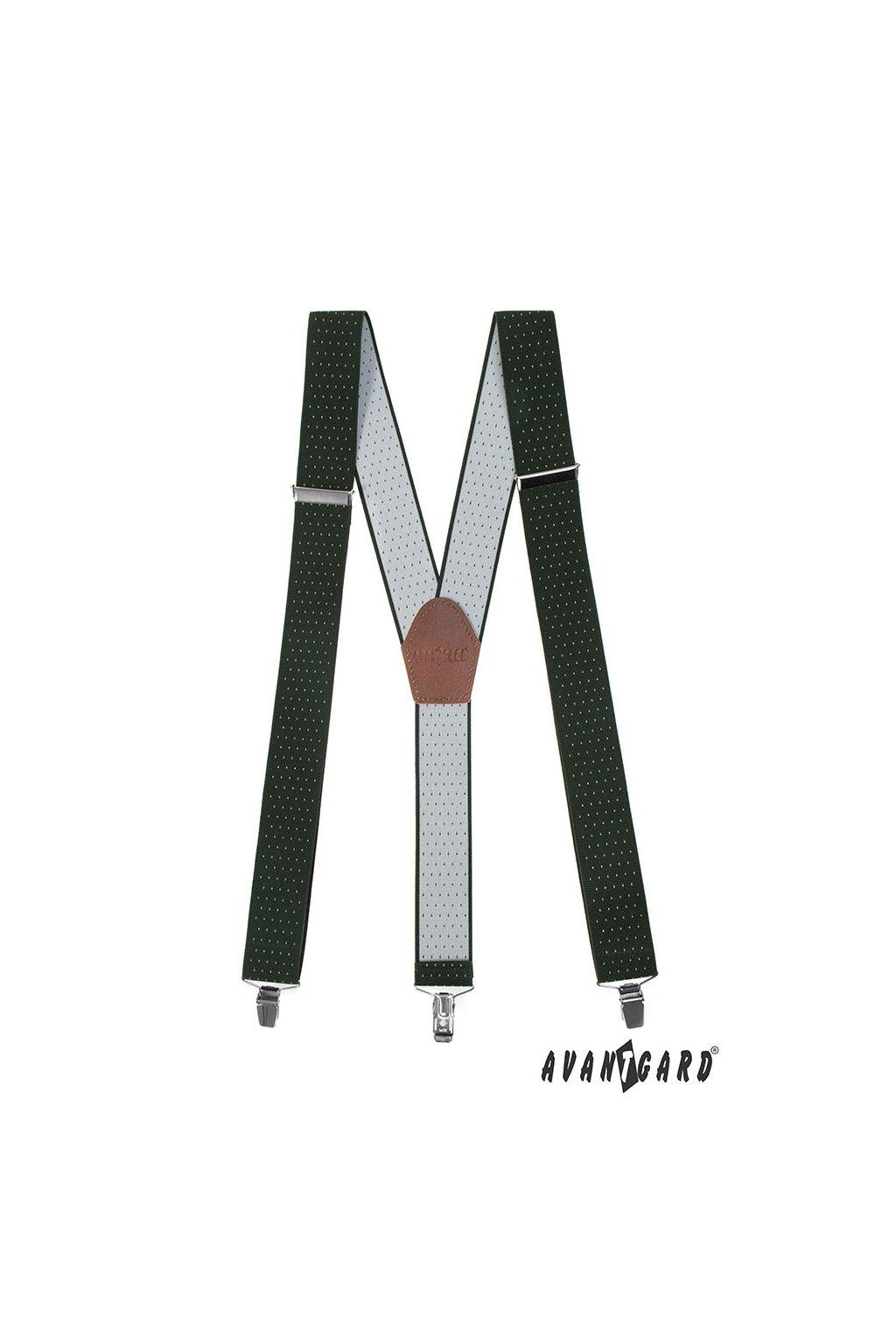 Šle Y s koženým středem a zapínáním na klipy - 35 mm, 856-460163, Zelená s bílým puntíkem