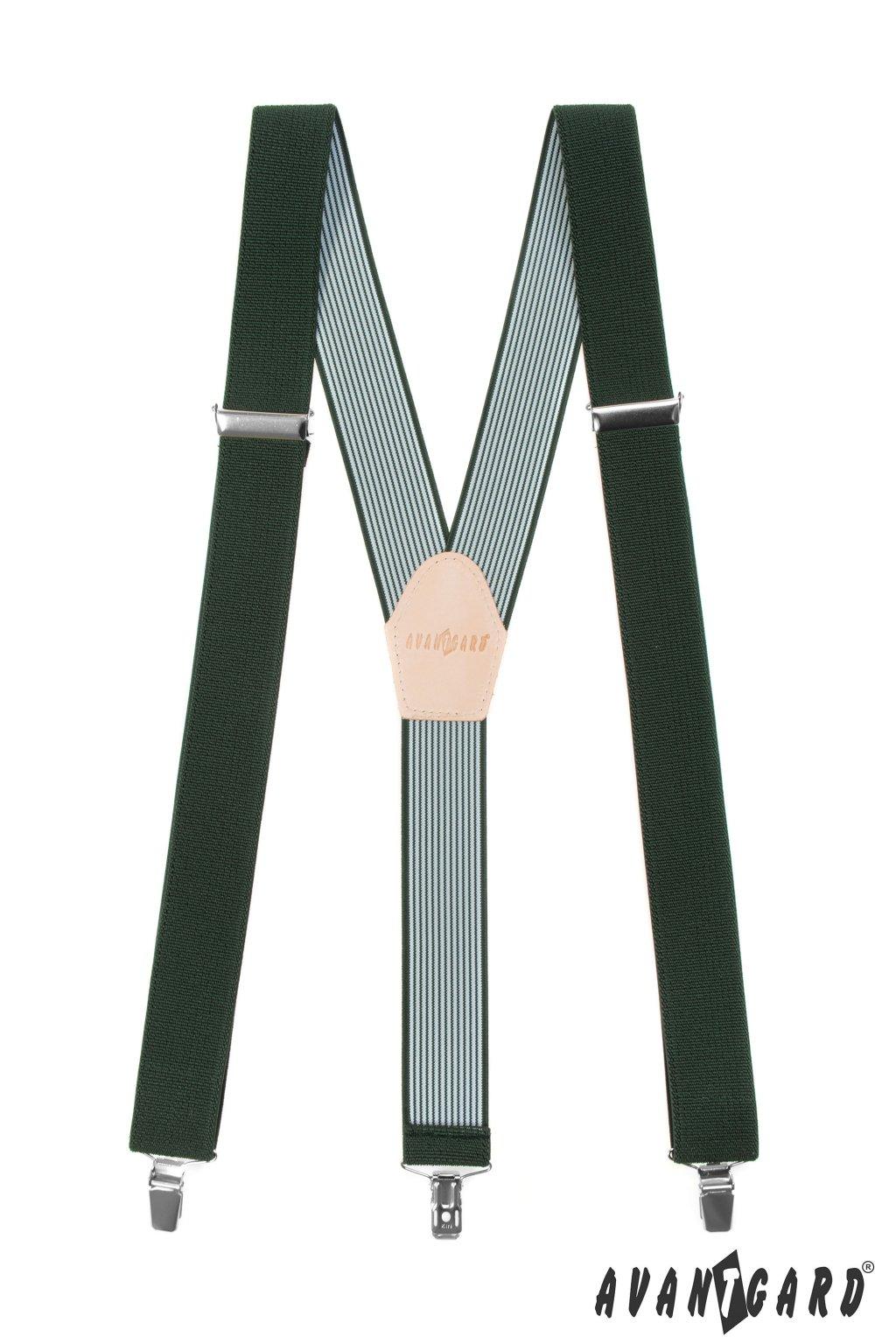 Myslivecké šle Y s koženým středem a zapínáním na klipy - 35 mm, 856-470812, Zelená, Lovu Zdar