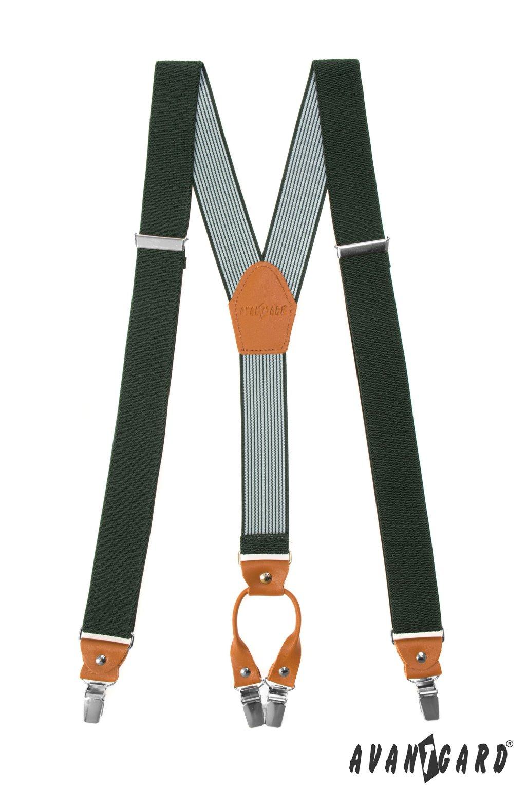 Šle Y s koženým středem a zapínáním na klipy - 35 mm, 880-4769, Zelená, koňaková kůže