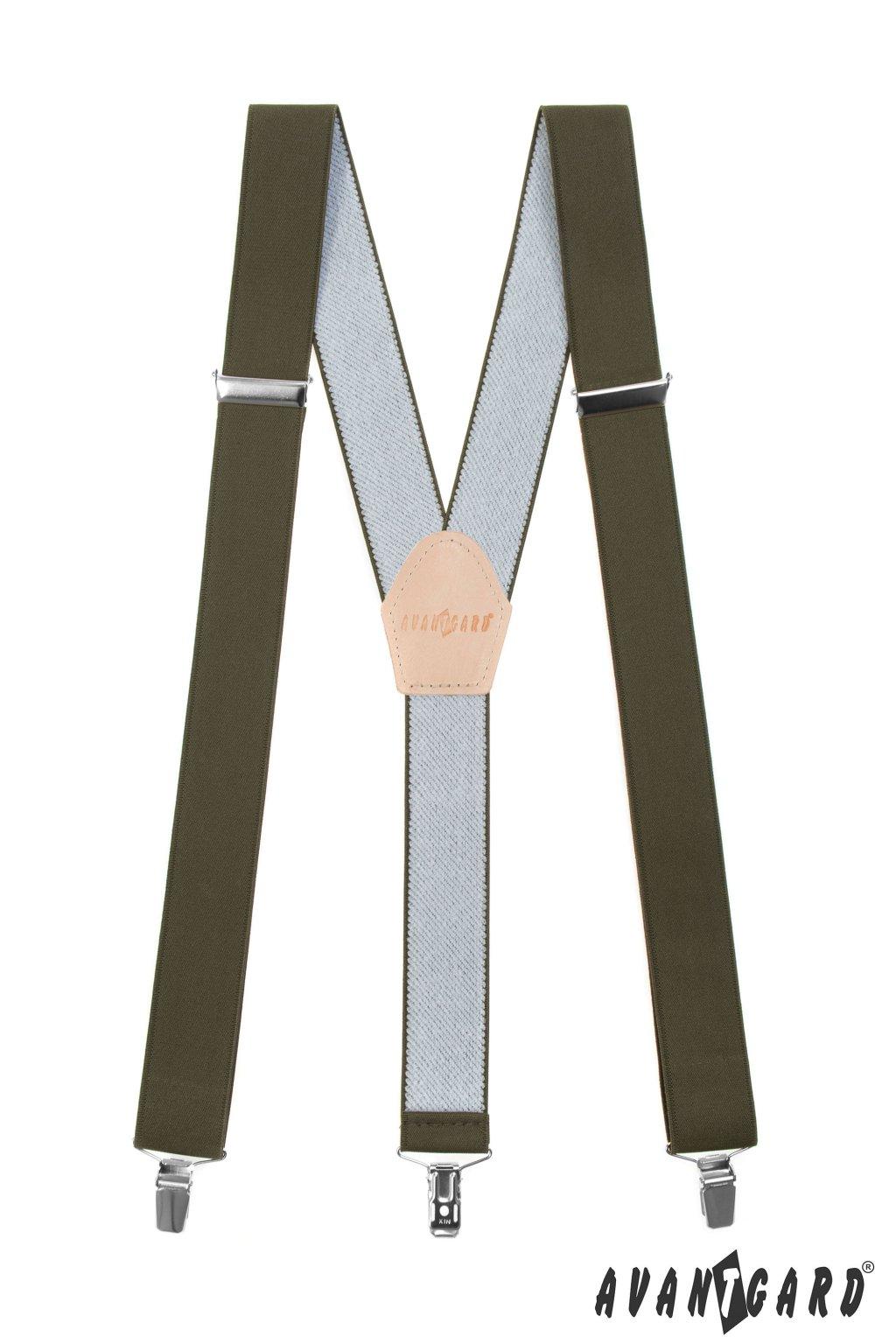 Myslivecké šle Y s koženým středem a zapínáním na klipy - 35 mm, 856-480912, Khaki, Lovu Zdar