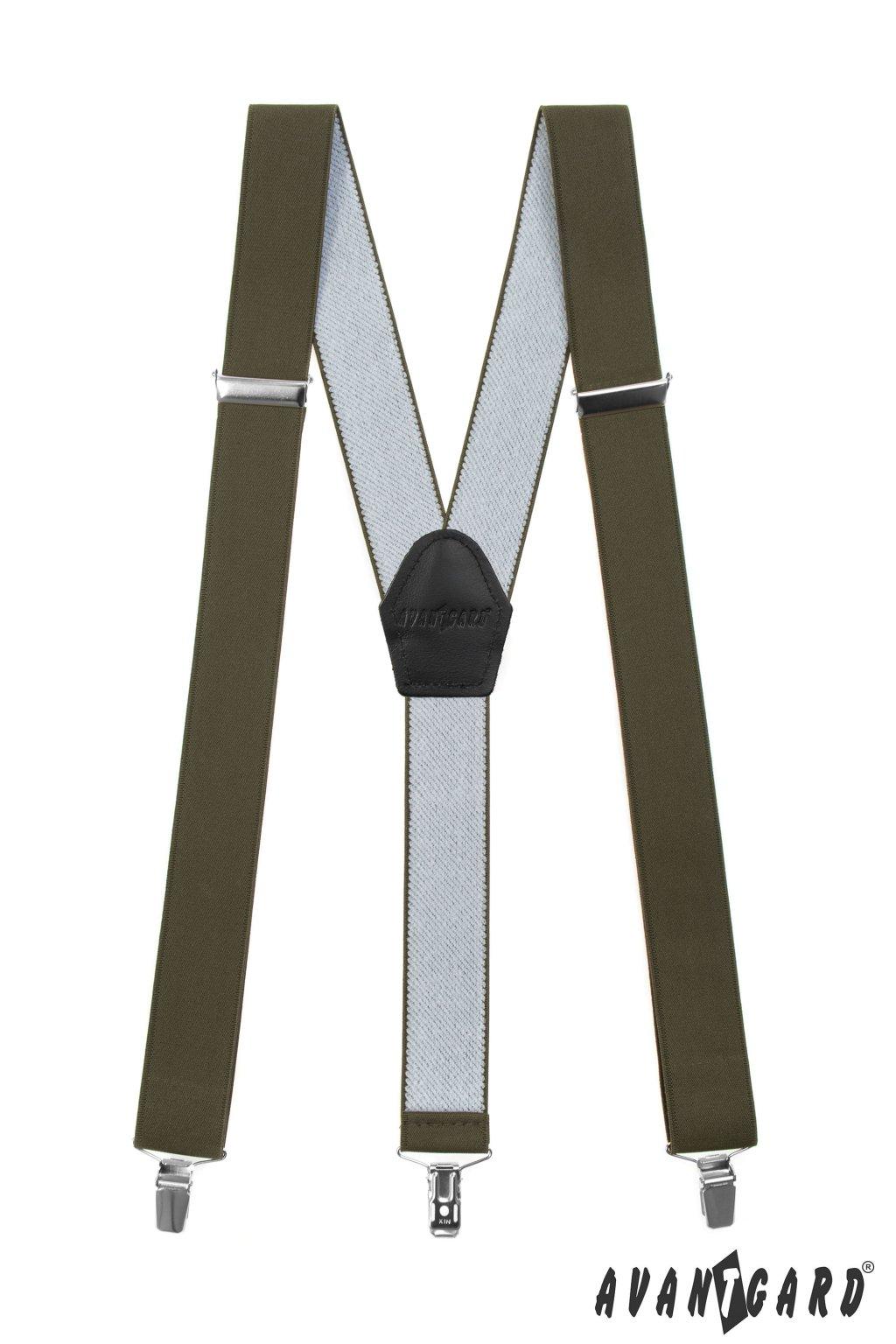 Šle Y s koženým středem a zapínáním na klipy - 35 mm, 856-4823, Khaki