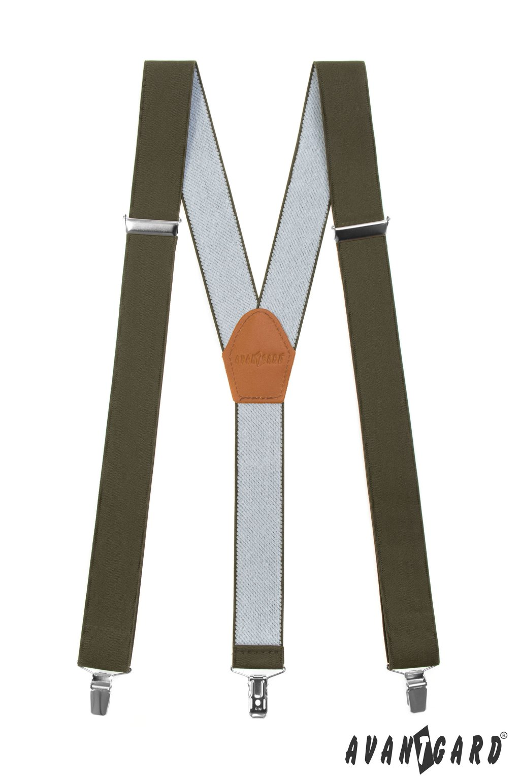Šle Y s koženým středem a zapínáním na klipy - 35 mm, 856-4869, Khaki, koňaková kůže